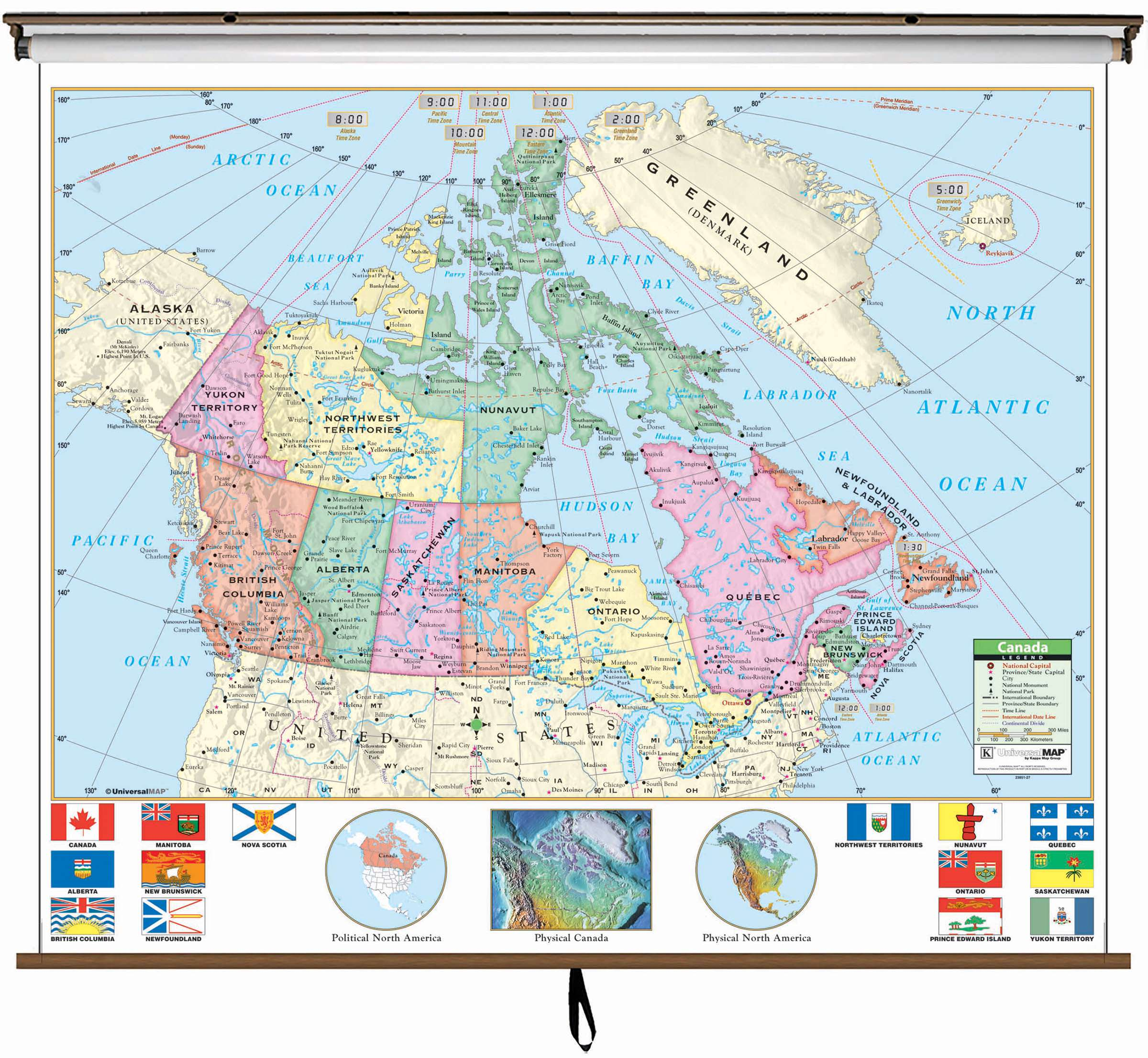 Canada Primary Wall Map On Roller W Backboard Kappa Map Group