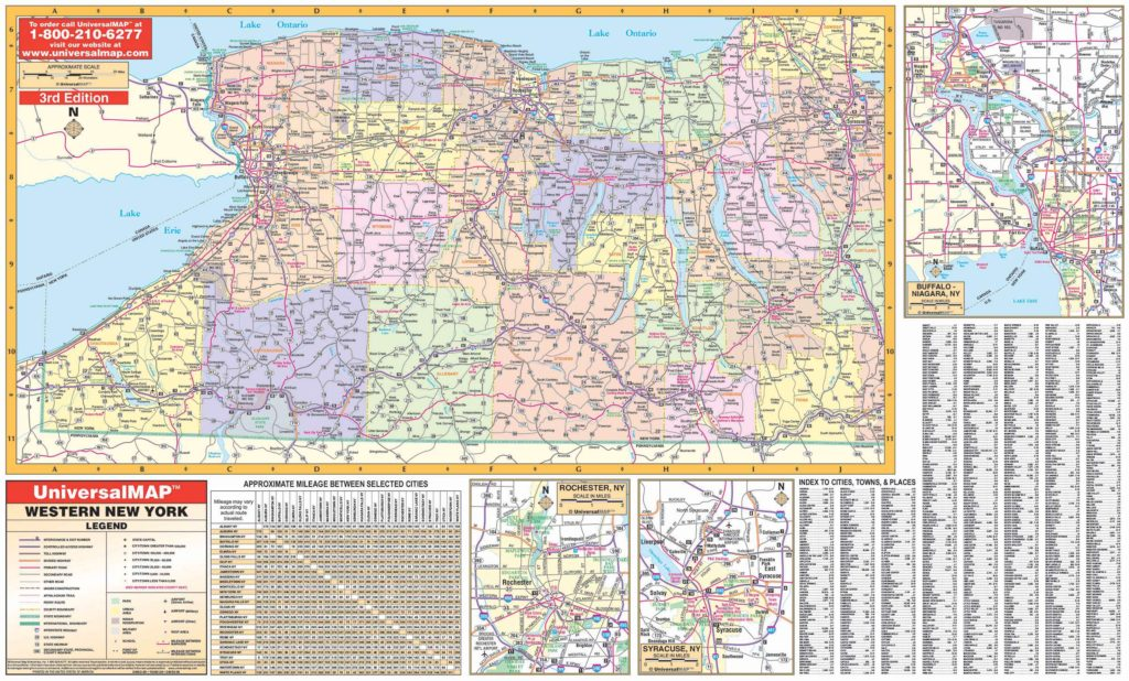 Map Of Cities In New York State.Western New York State Wall Map Kappa Map Group