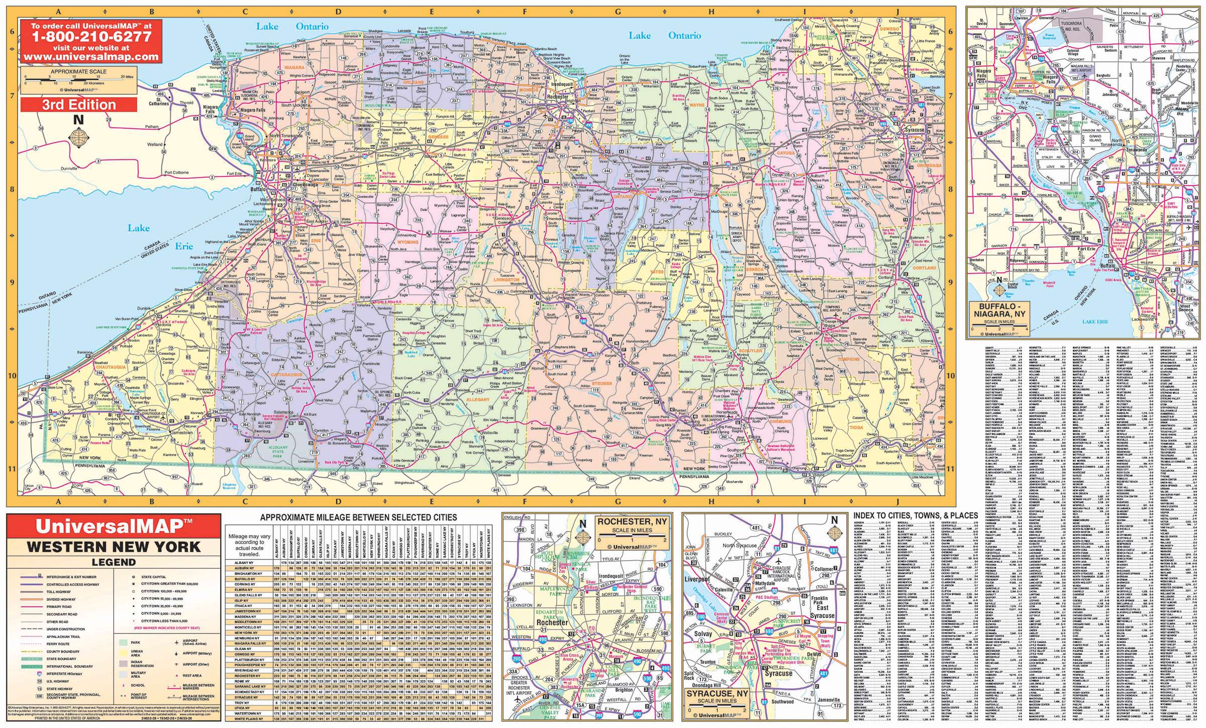 Western New York State Wall Map – KAPPA MAP GROUP