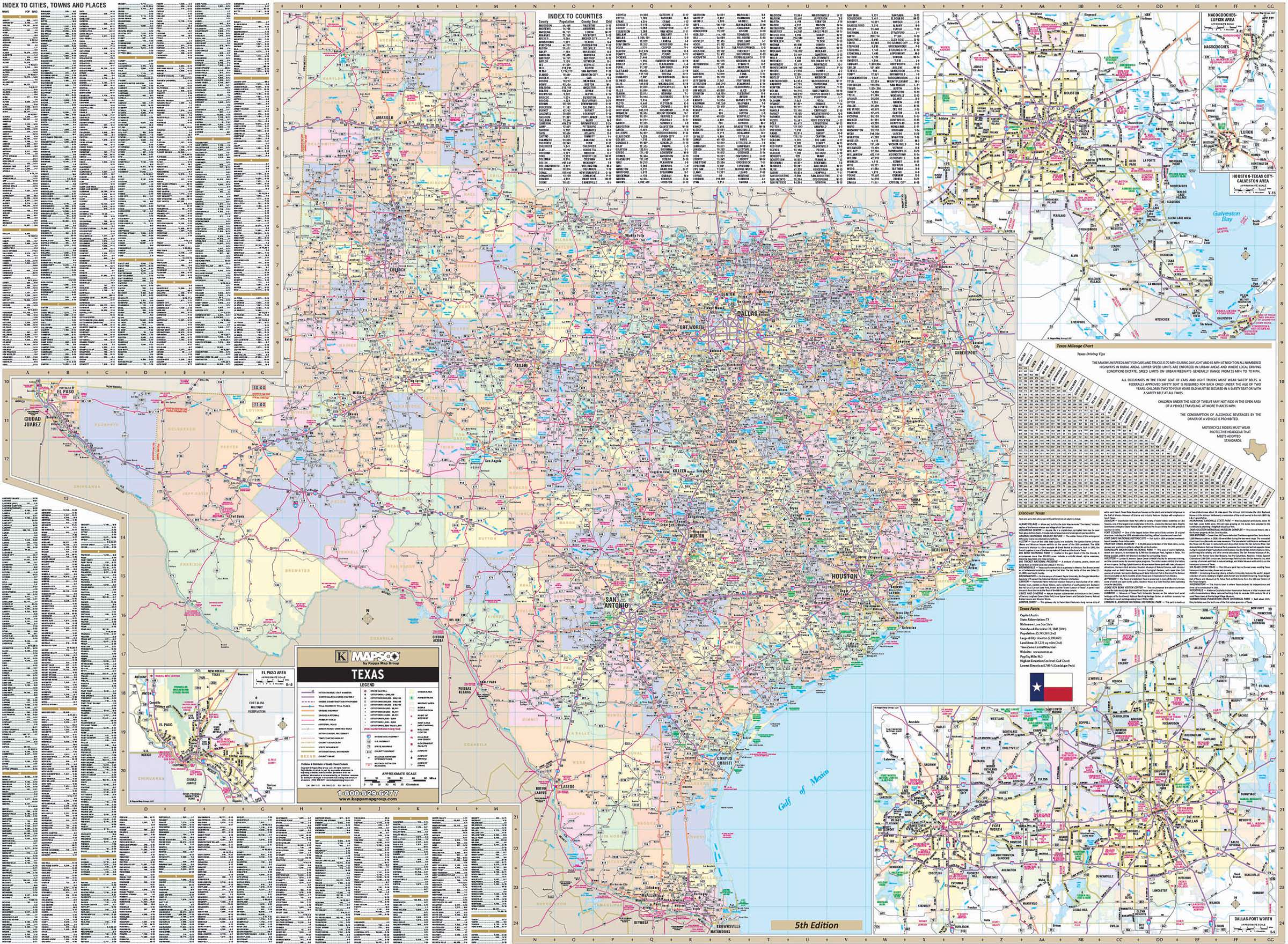 Texas State Wall Map KAPPA MAP GROUP - Texas state map