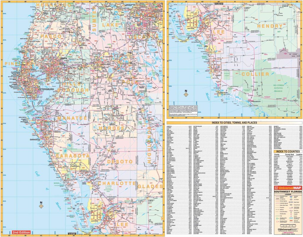 Southwest Florida Map With Cities.Florida State Southwest Regional Wall Map Kappa Map Group