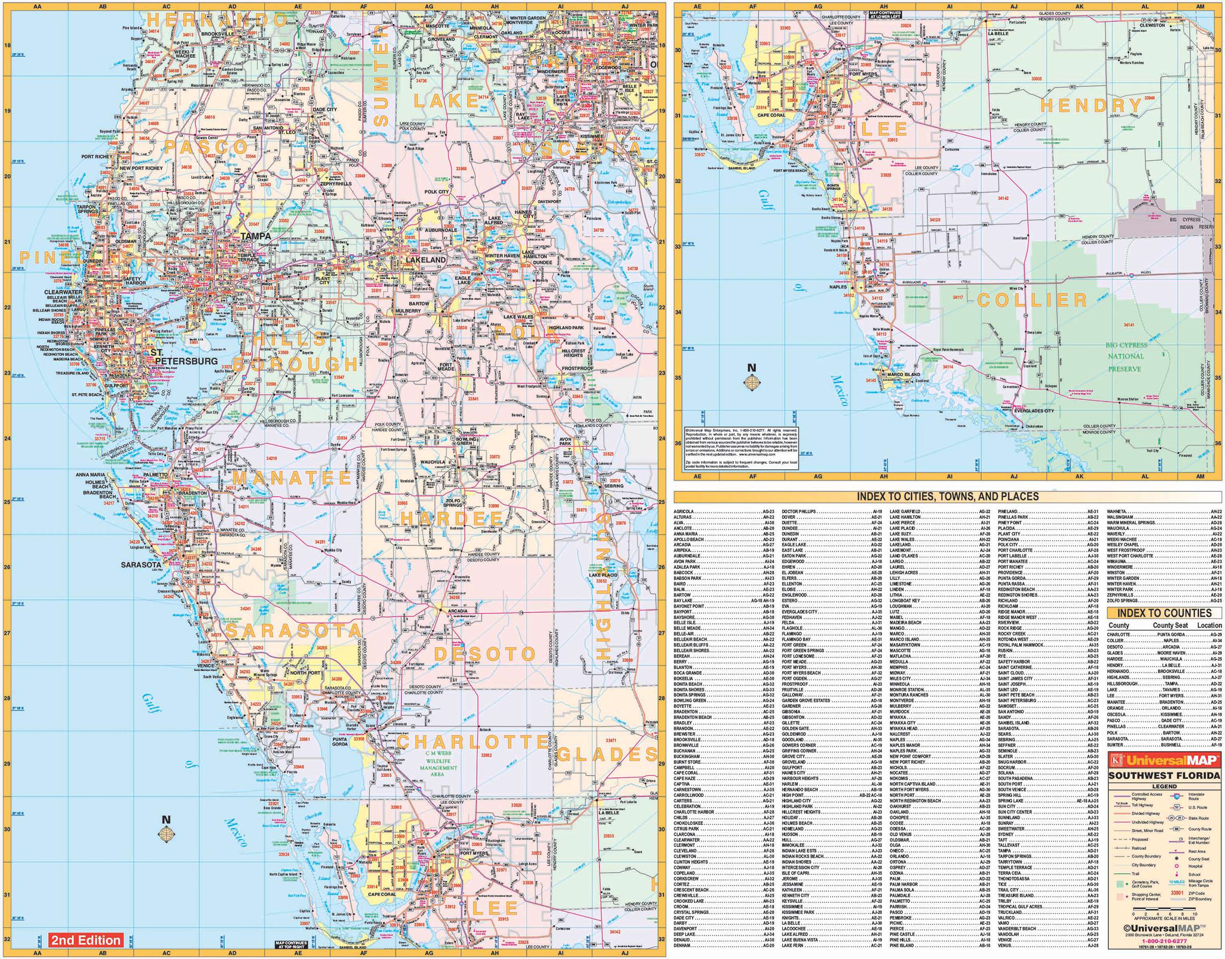 Flordia State Map.Florida State Southwest Regional Wall Map Kappa Map Group