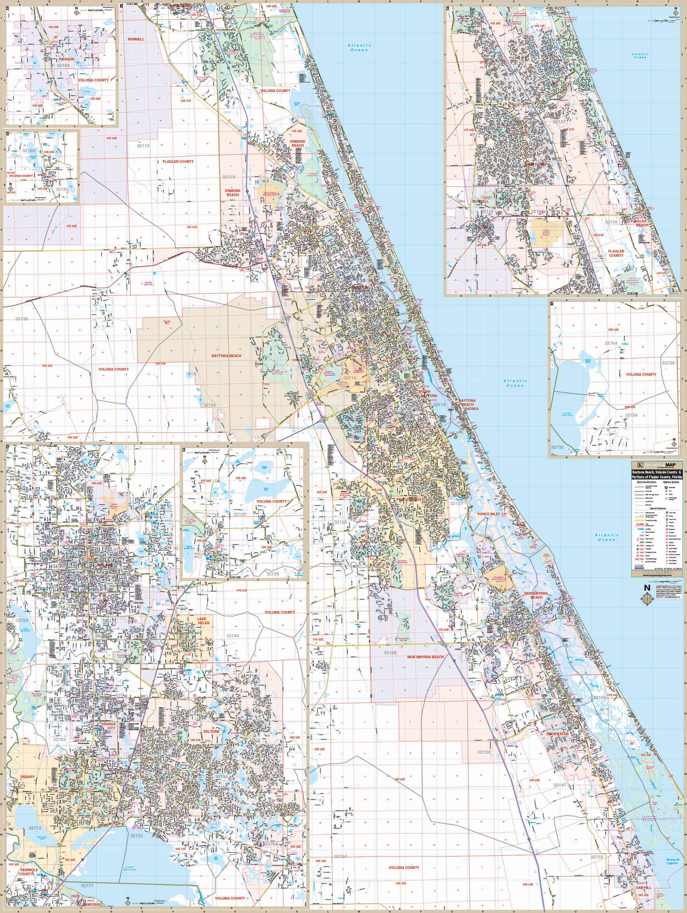 Map Of Florida Showing Daytona Beach.Daytona Beach Fl Wall Map Kappa Map Group