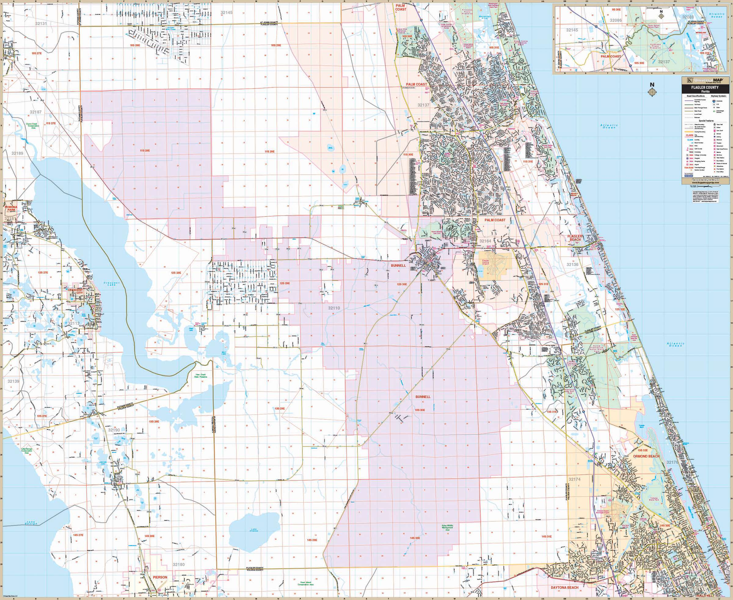 Ormond Beach Zip Code Map.Flagler Co Fl Wall Map Kappa Map Group