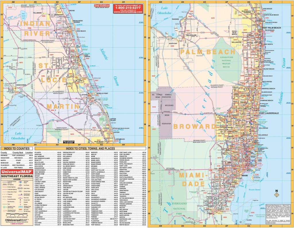 Map Of Southeast Florida Beaches.Florida State Southeast Regional Wall Map Kappa Map Group