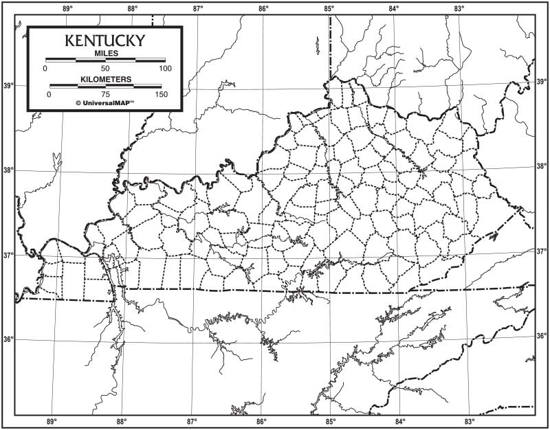 Kentucky Outline Map 50 Pack Paper KAPPA MAP GROUP