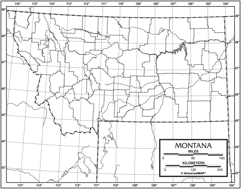 montana outline map 50 pack paper kappa map group
