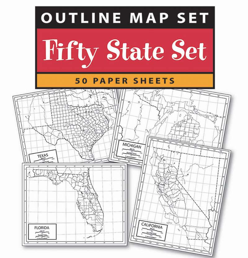 US State Outline Map Set Paper X KAPPA MAP GROUP - State outline map