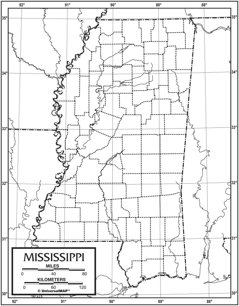 Mississippi Outline Map 50 Pack Laminated KAPPA MAP GROUP