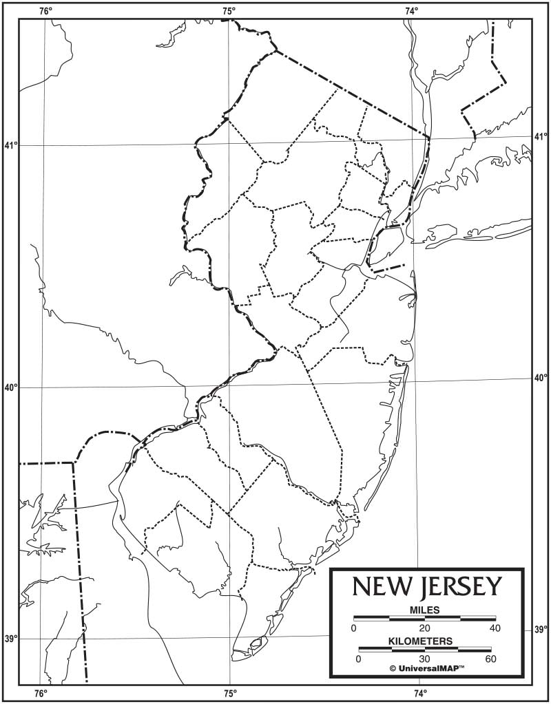 New Jersey Outline Map 50 Pack Laminated – KAPPA MAP GROUP