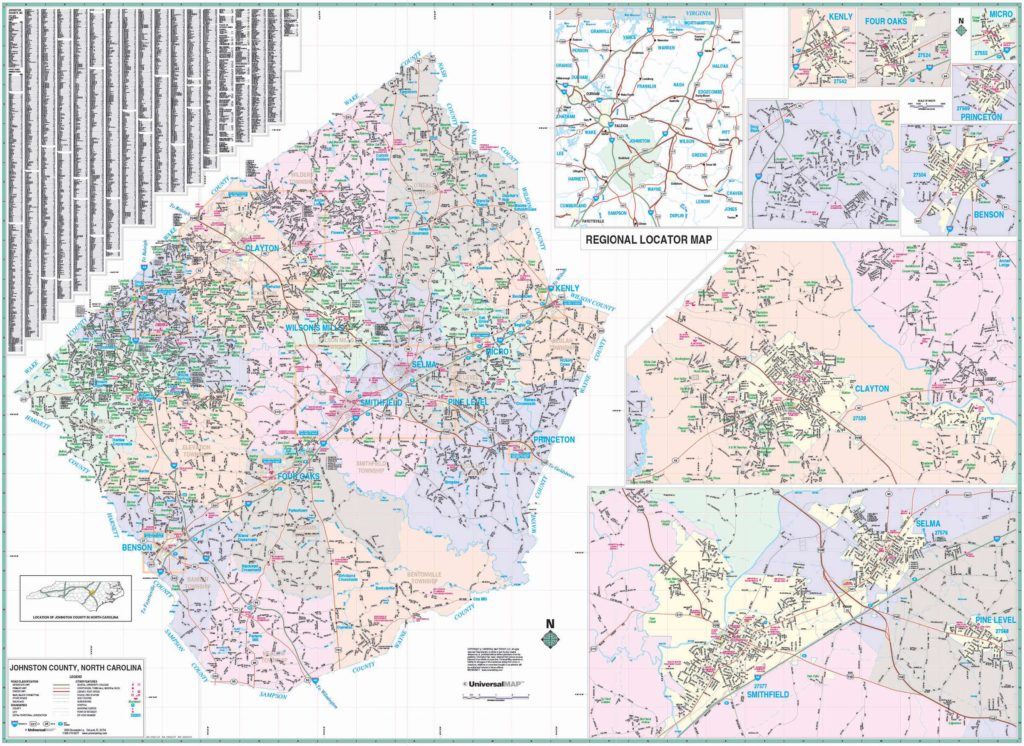 Johnston County Nc Wall Map Kappa Map Group