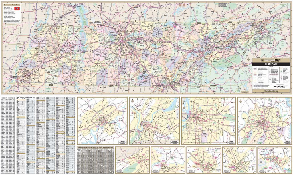 Tennessee State Wall Map Kappa Map Group