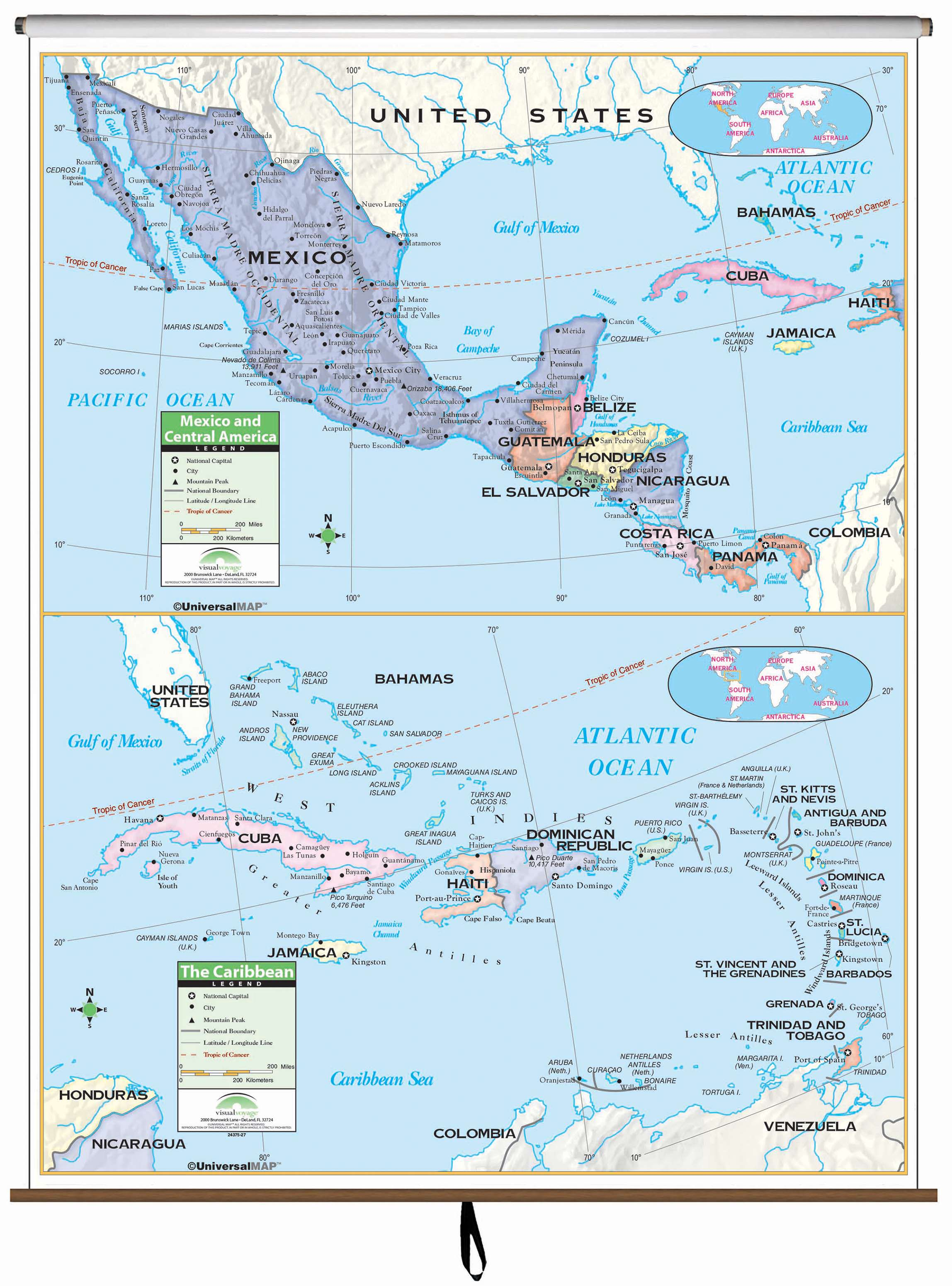Central America Primary Classroom Wall Map On Roller Kappa Map Group