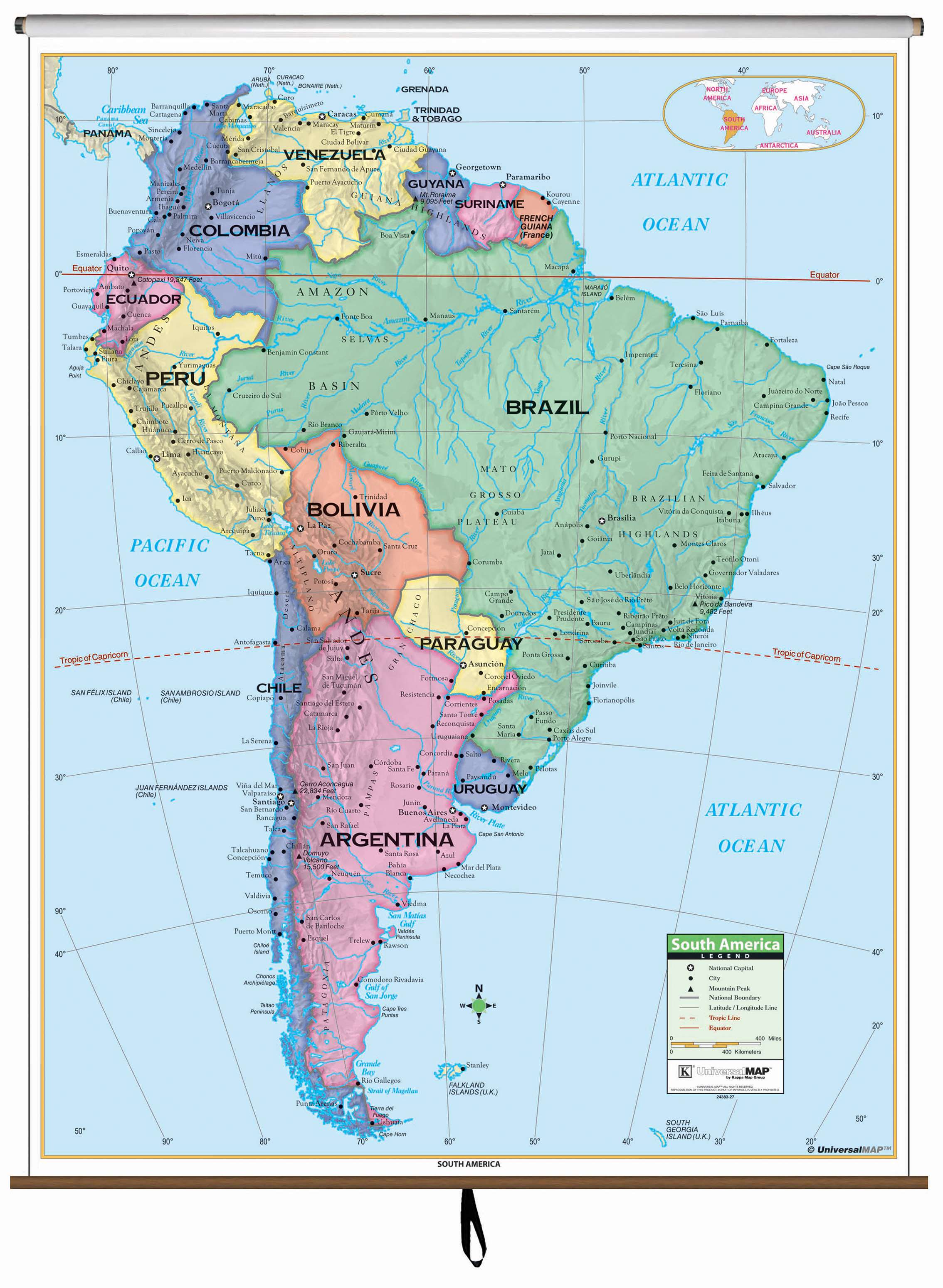 south america map with longitude and latitude lines South America Primary Classroom Wall Map Kappa Map Group