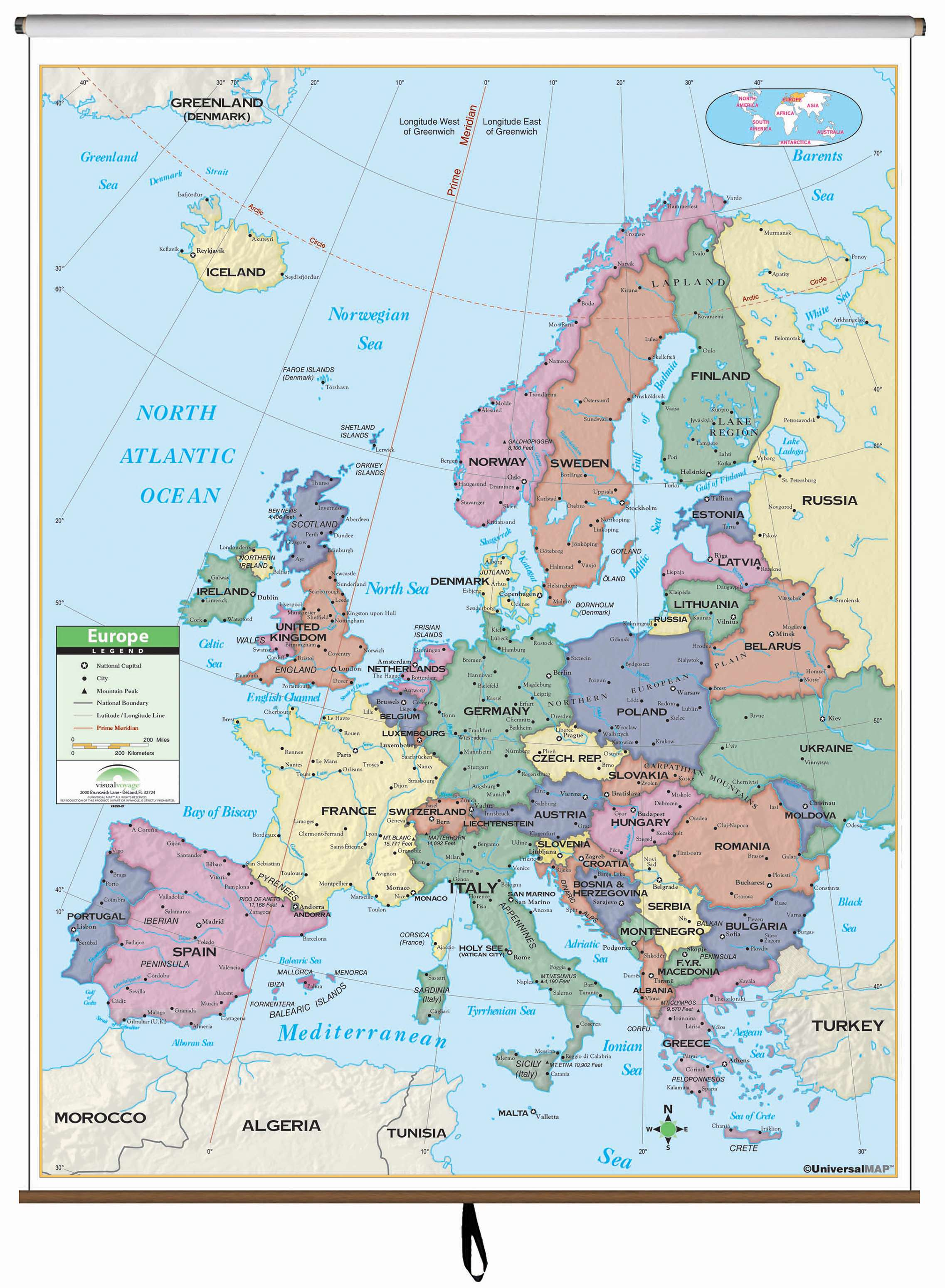 Europe Primary Classroom Wall Map on Roller KAPPA MAP GROUP