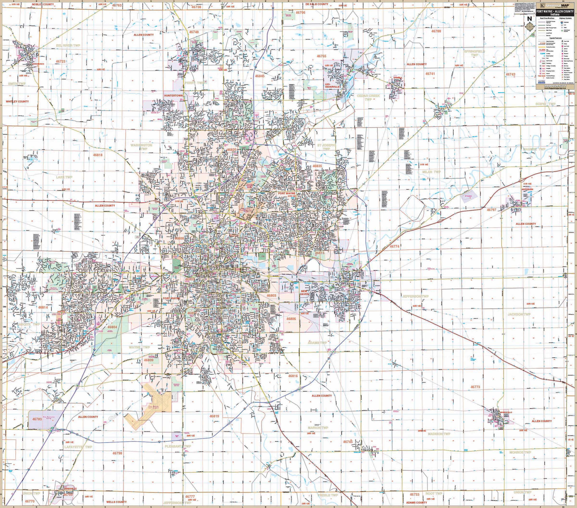 Fort Wayne Allen Co IN Wall Map KAPPA MAP GROUP