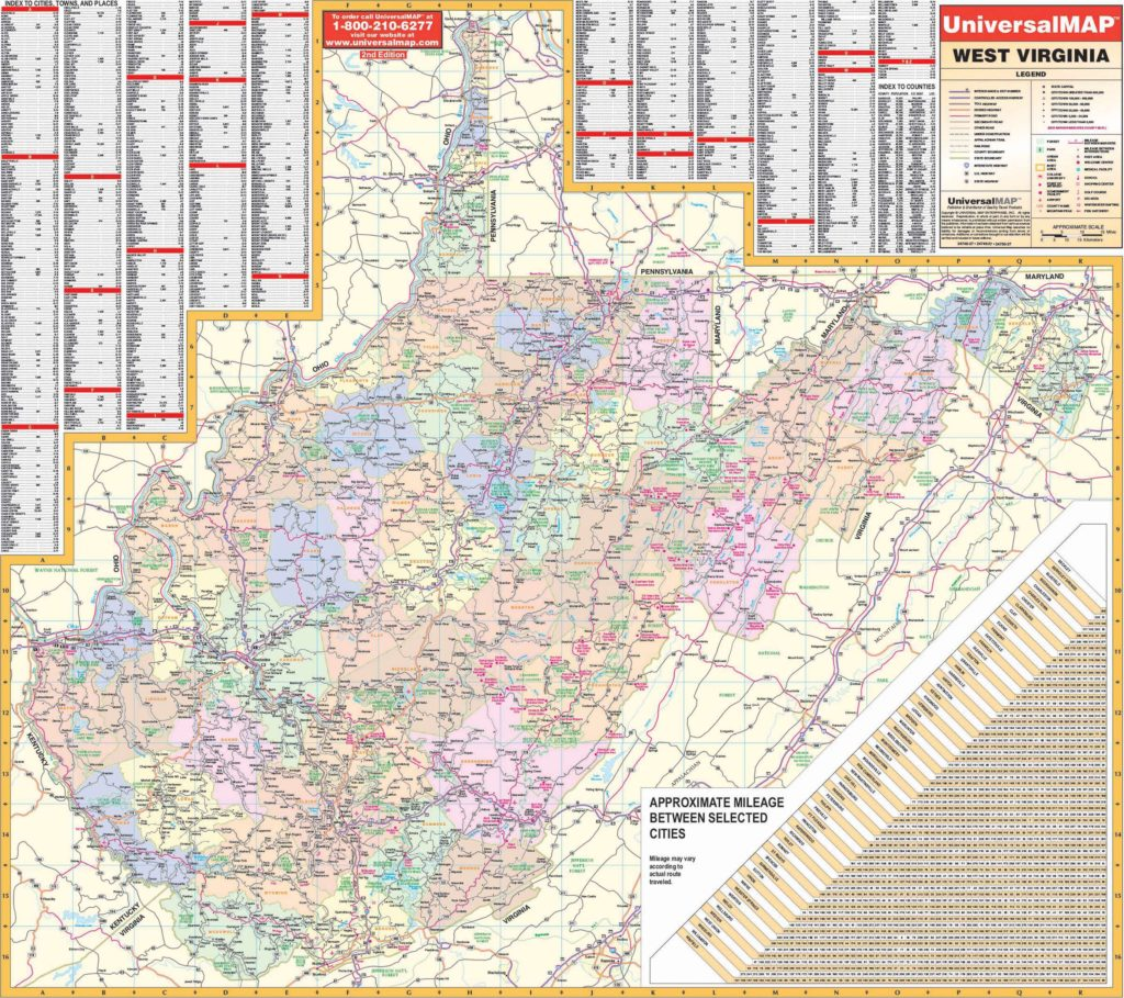 West Virginia State Wall Map – KAPPA MAP GROUP