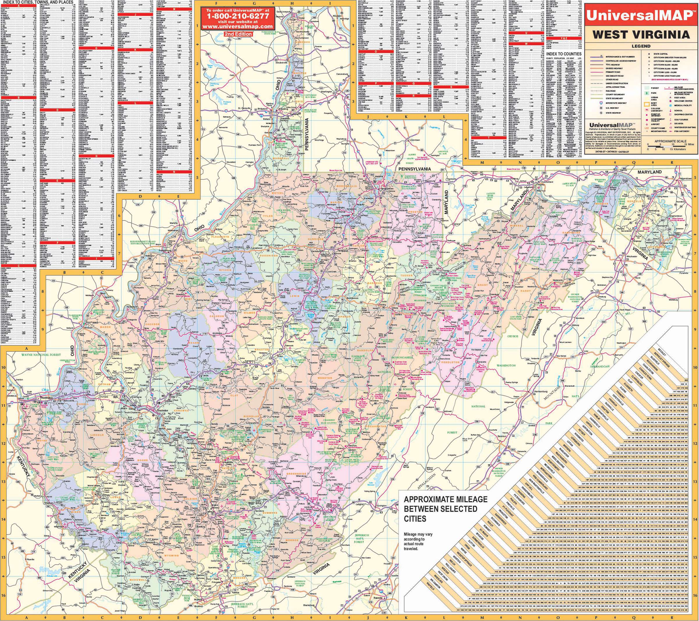 West Virginia State Wall Map KAPPA MAP GROUP - Virginia state map