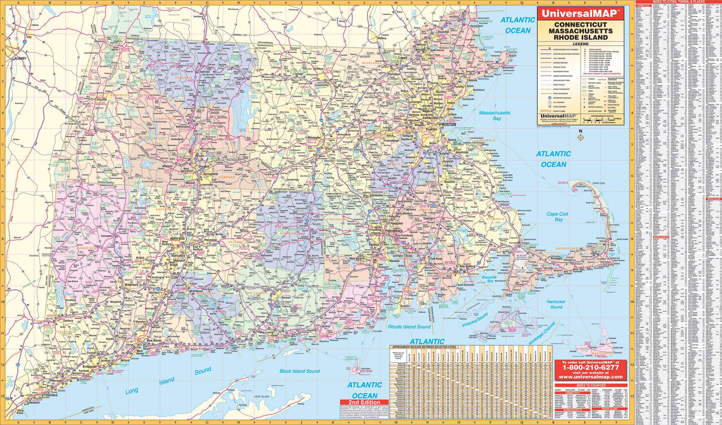 Connecticut, Rhode Island & Massachusetts State Wall Map – KAPPA MAP ...