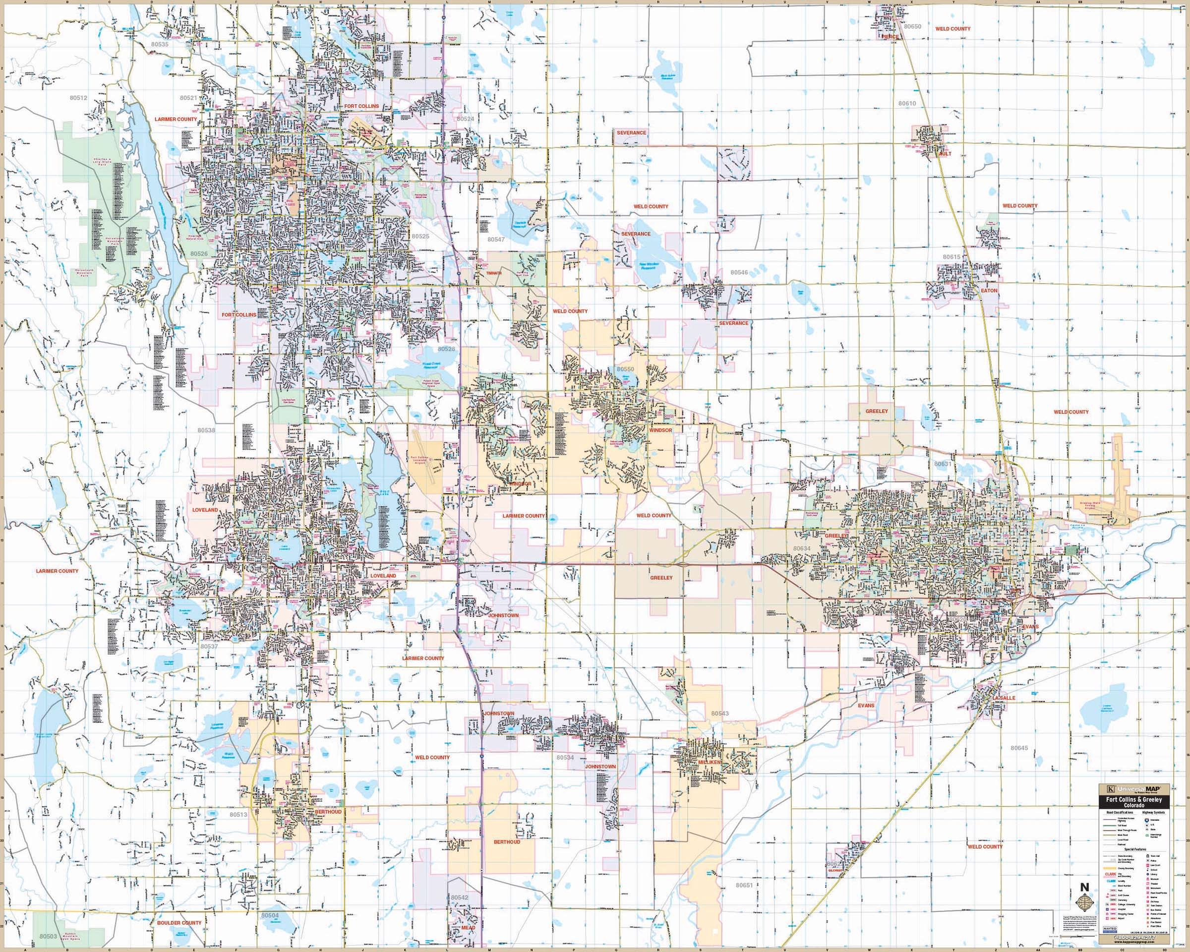 Fort Collins Greeley CO Wall Map KAPPA MAP GROUP