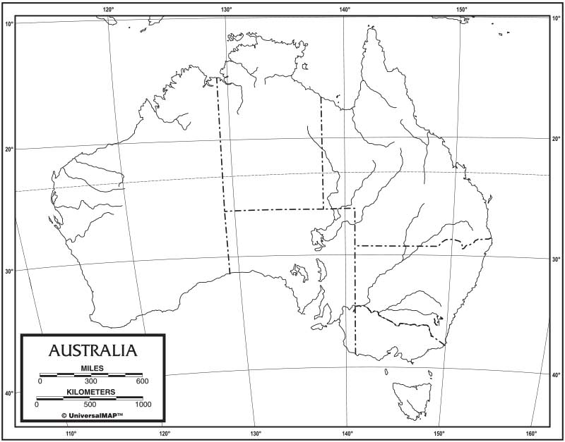 Outline Map Of Australia.Australia Outline Map 50 Pack Laminated Kappa Map Group