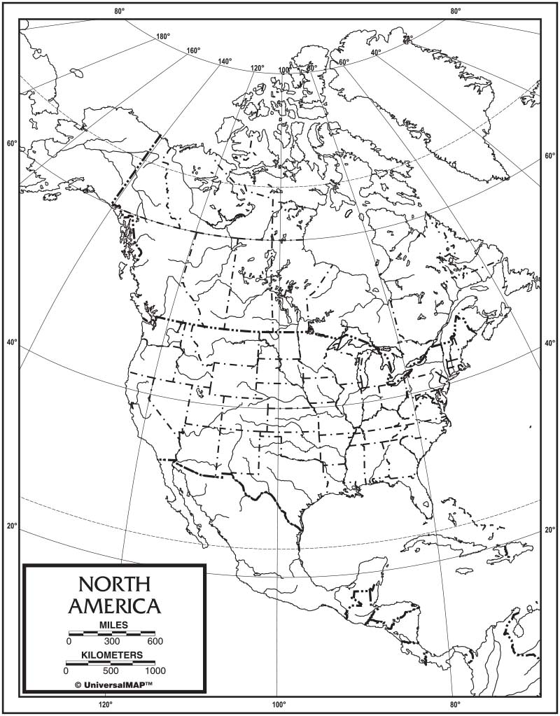 North America Outline Map 50-Pack (laminated) – KAPPA MAP GROUP