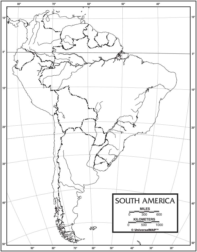 Map Of America Outline.South America Outline Map 50 Pack Kappa Map Group