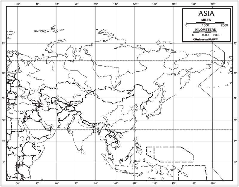 Asia Outline Map 50-Pack (laminated) – KAPPA MAP GROUP