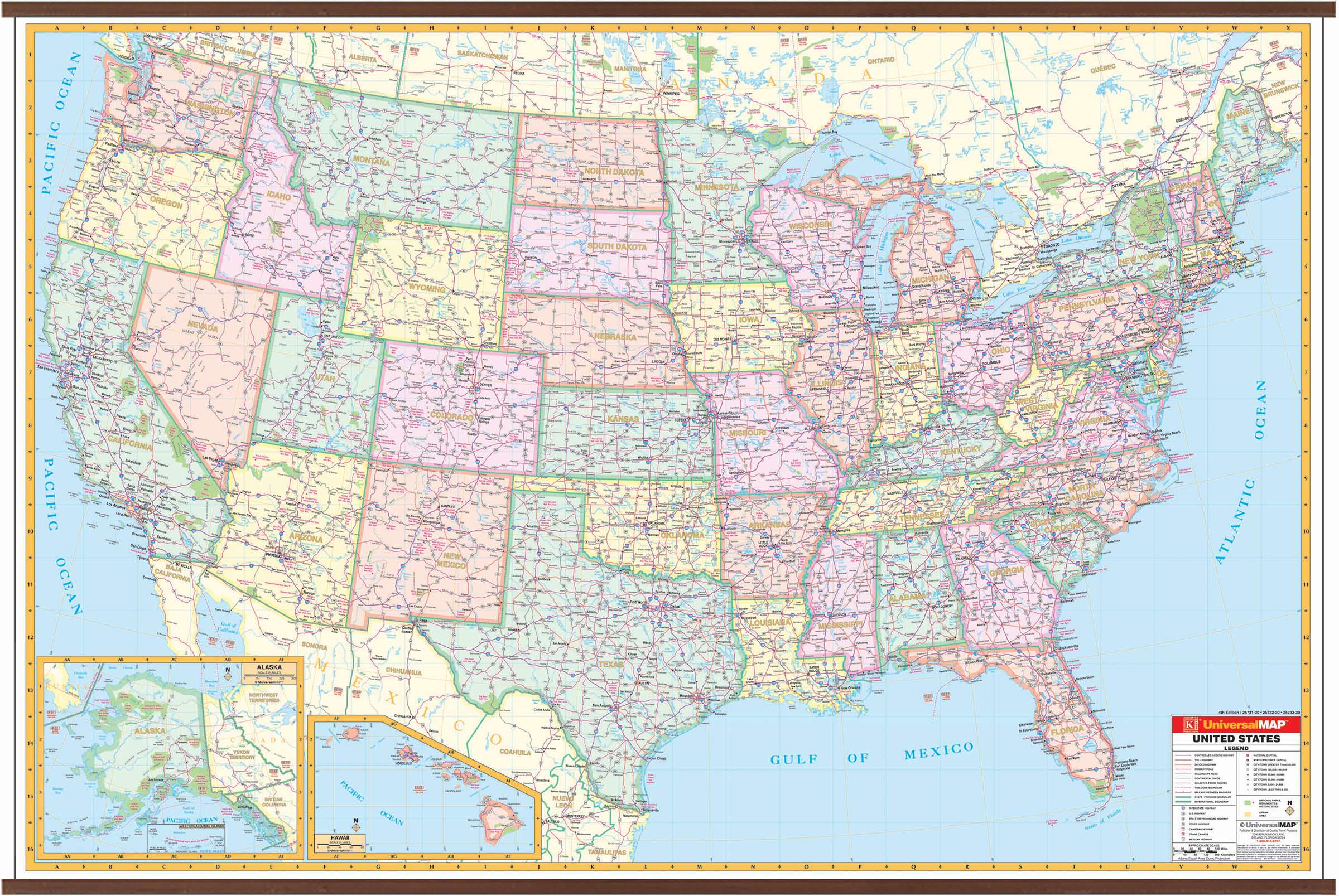 Map Of The United States Picture.Us Interstate Wall Map Kappa Map Group