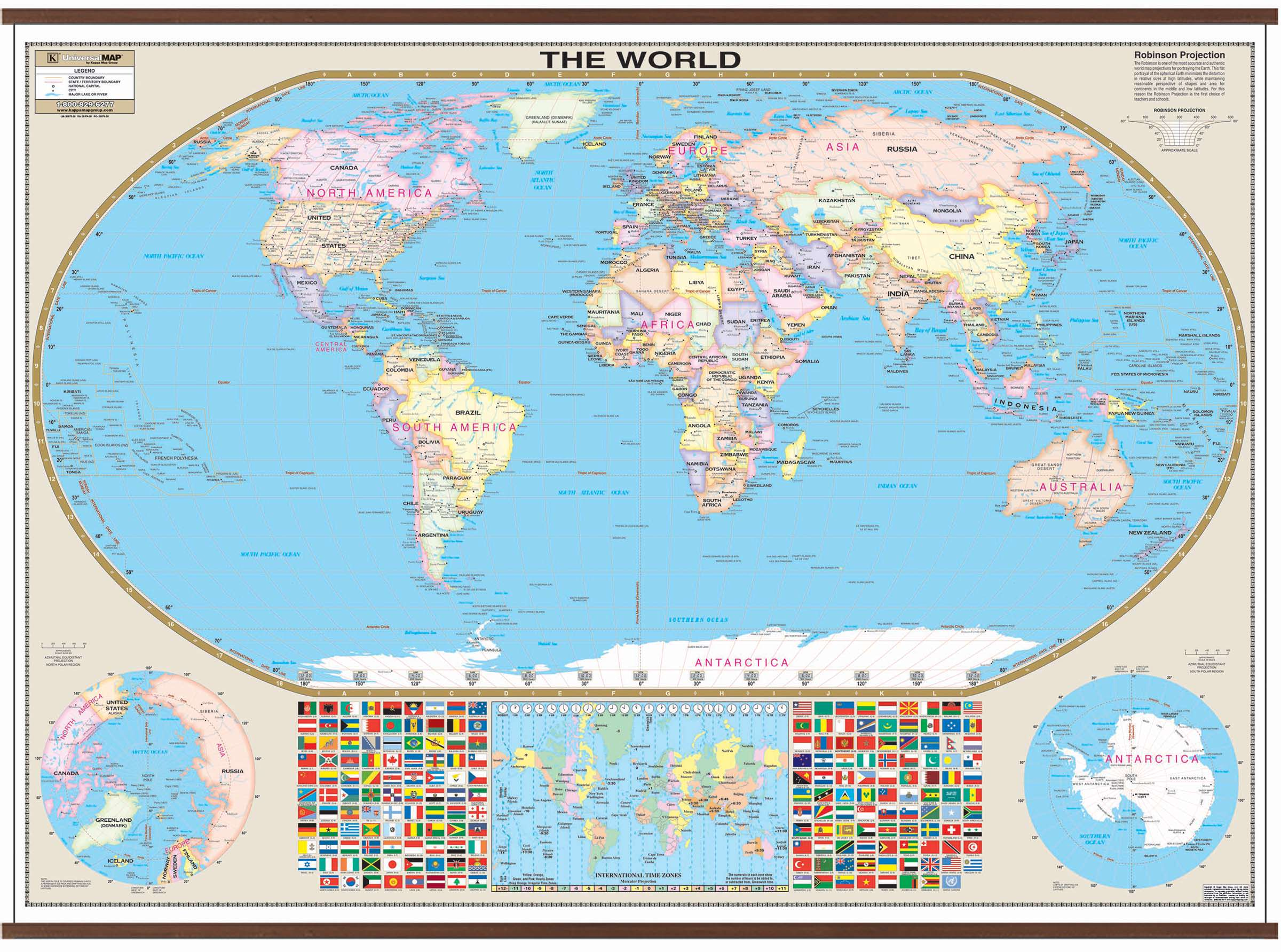 World Large Scale Wall Map Kappa Map Group