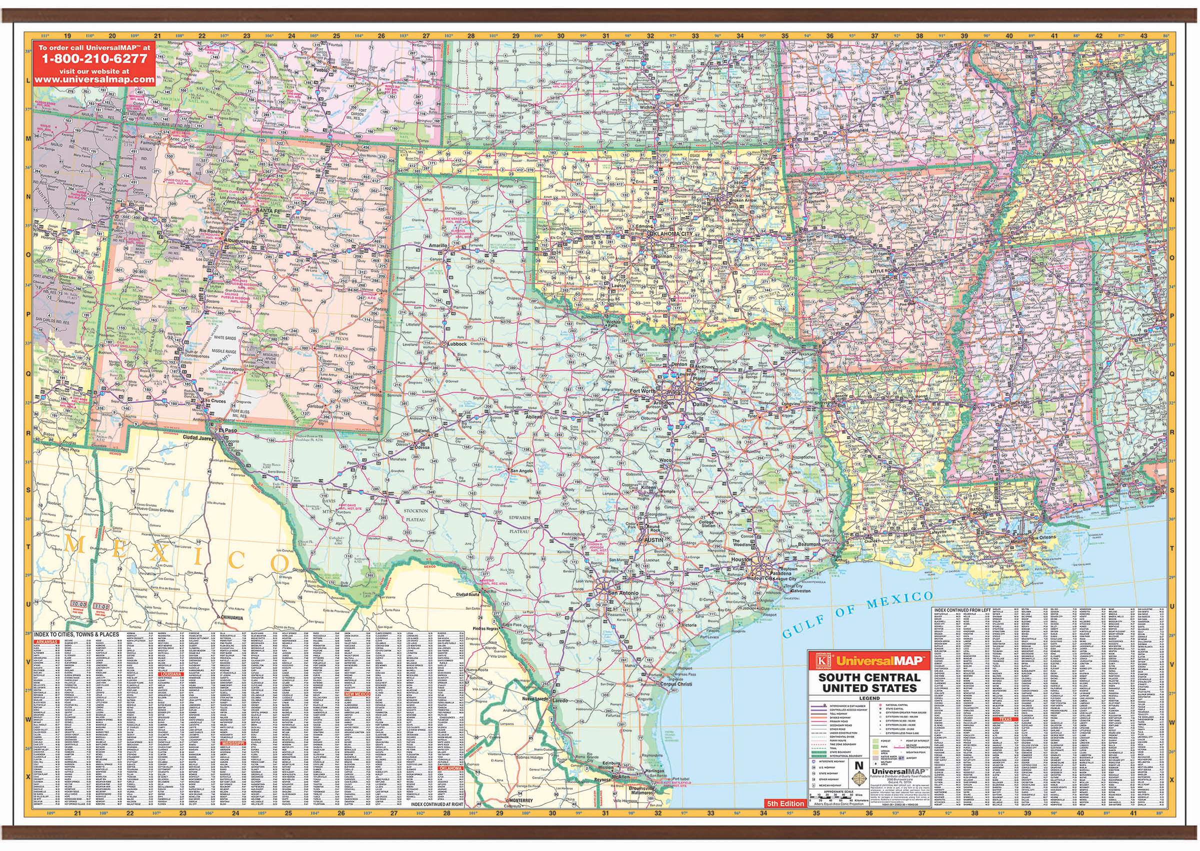 US South Central Wall Map – KAPPA MAP GROUP