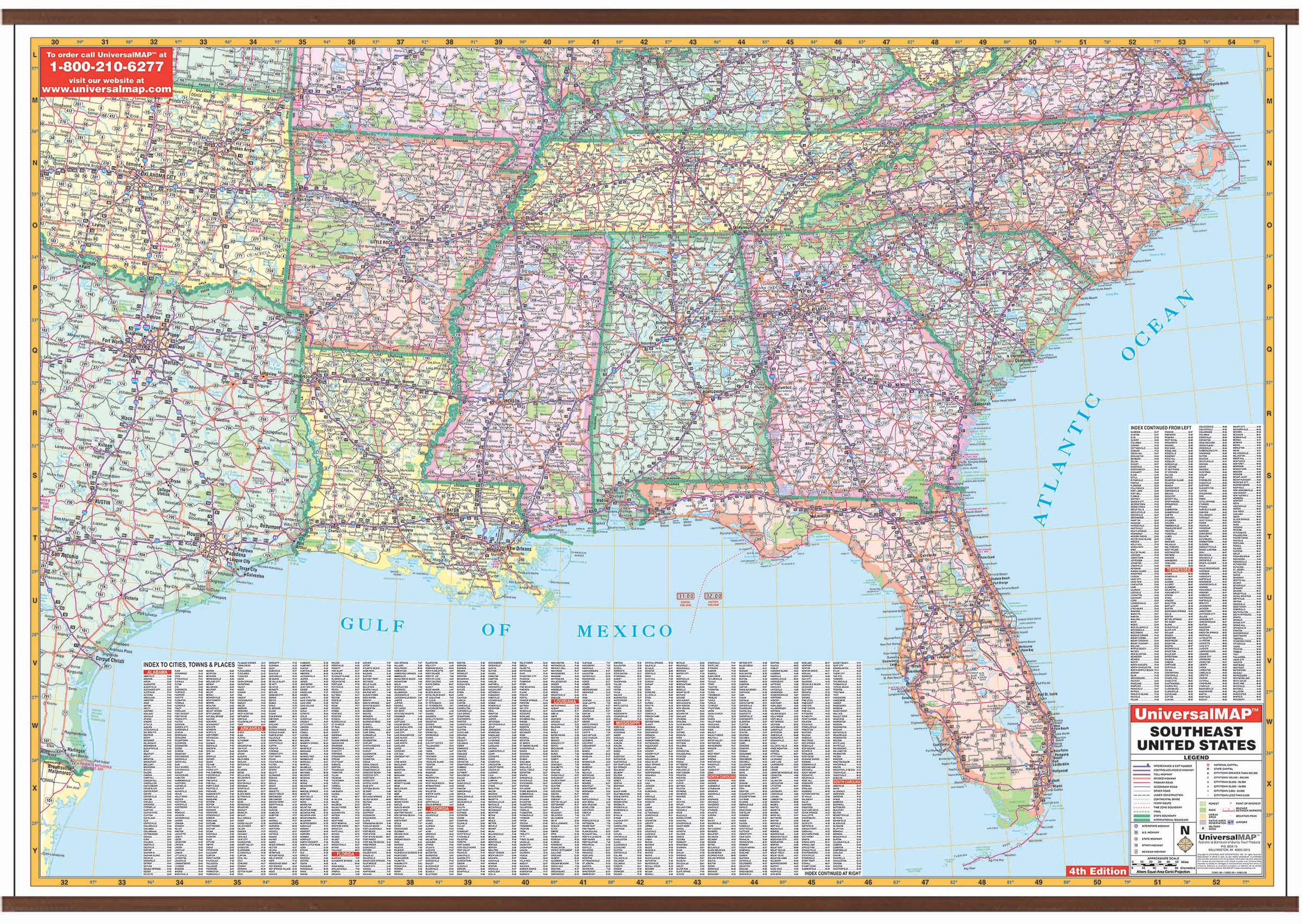 US Southeast & Louisiana Wall Map – KAPPA MAP GROUP