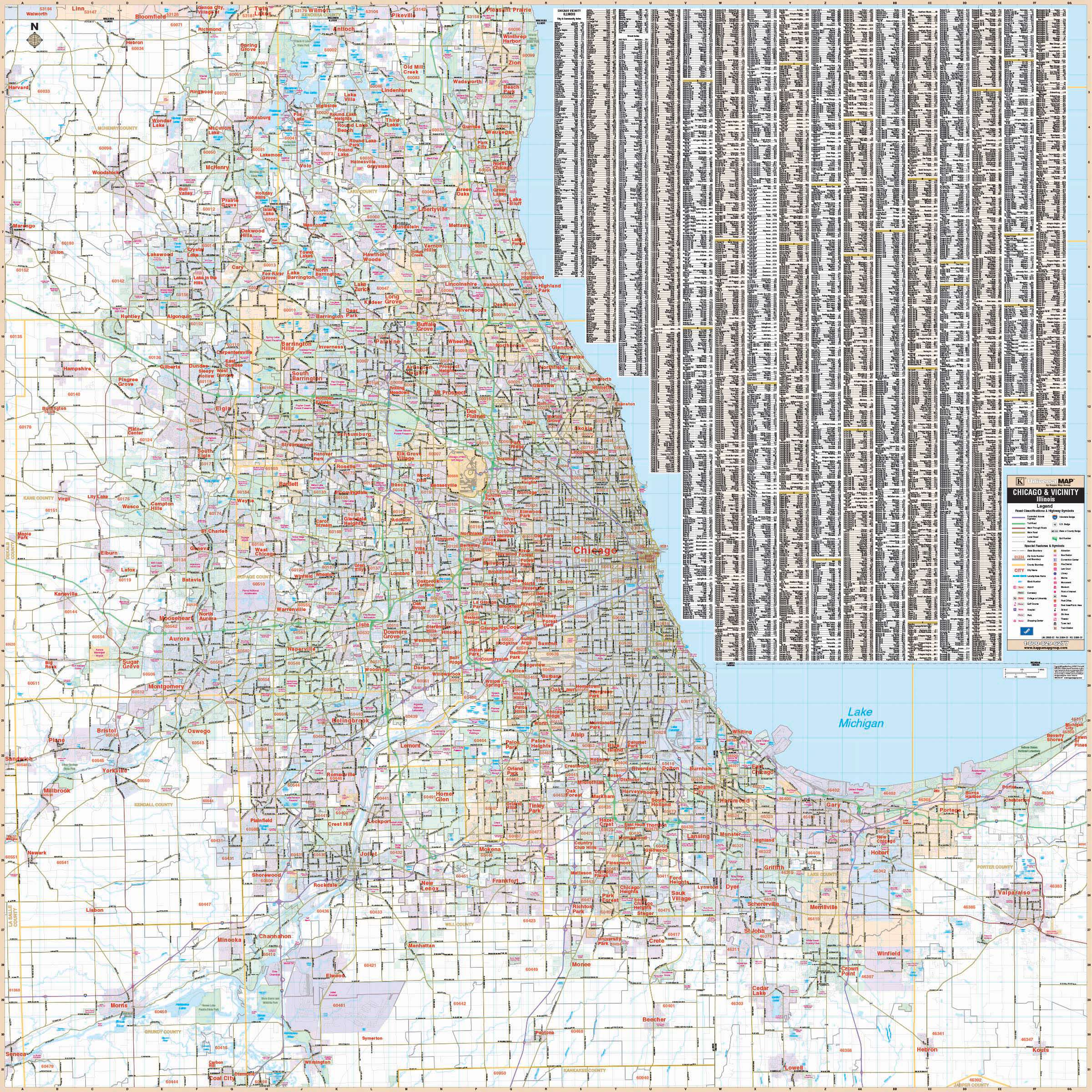 Chicago, IL Vicinity Wall Map – KAPPA MAP GROUP on