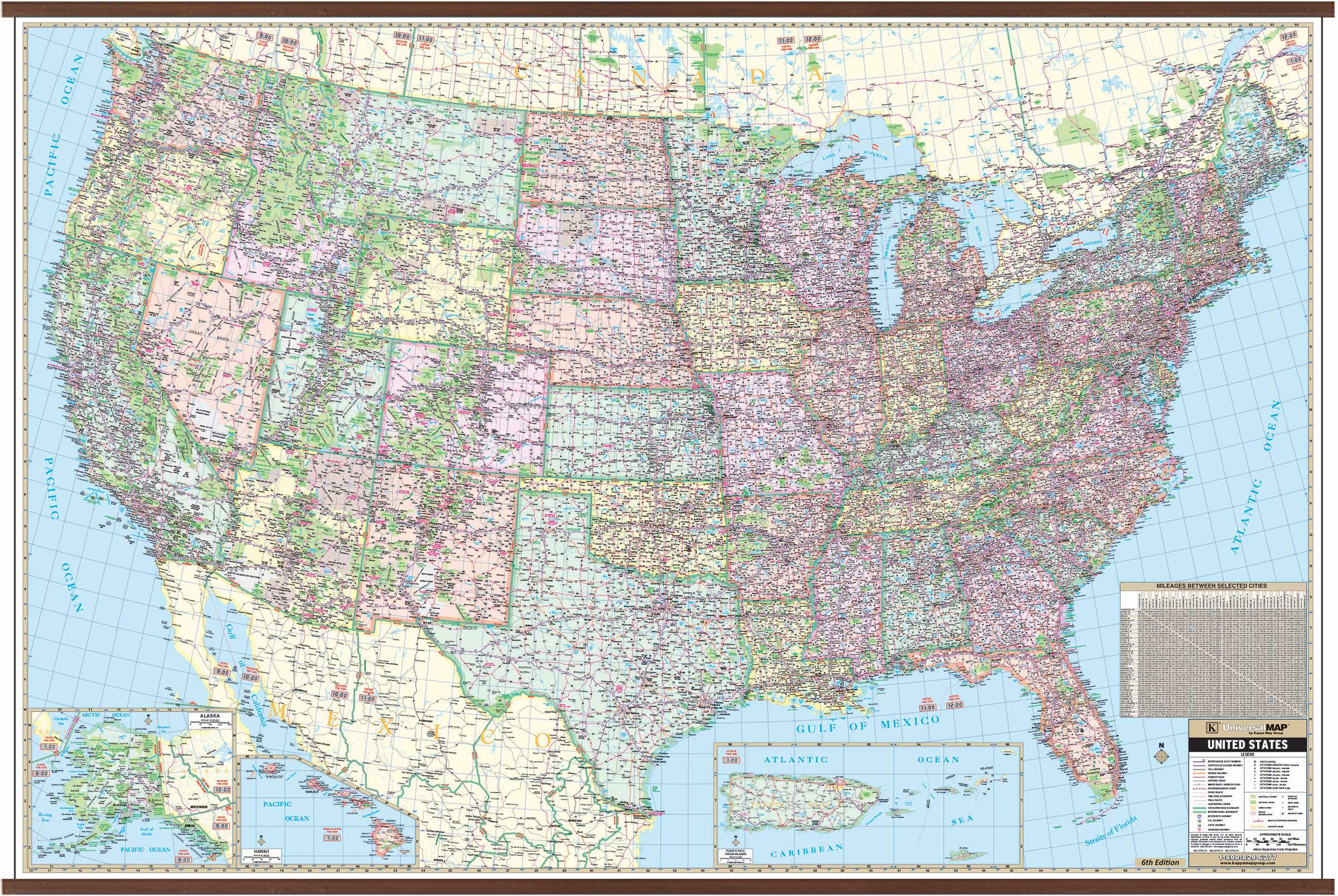 Us Large Scale Wall Map 77 X 54 Kappa Map Group - Large-map-us