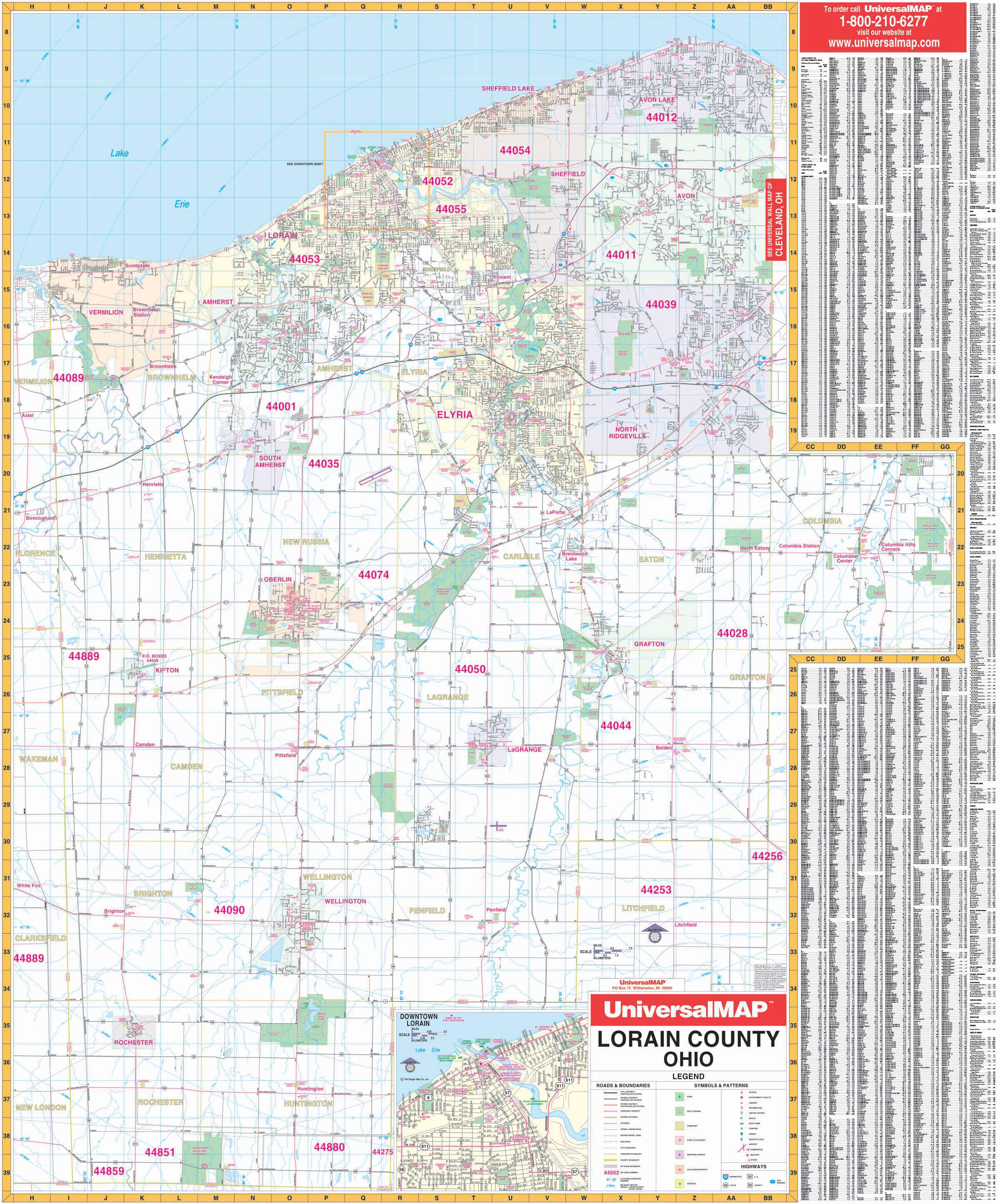 Lorain County OH Wall Map KAPPA MAP GROUP