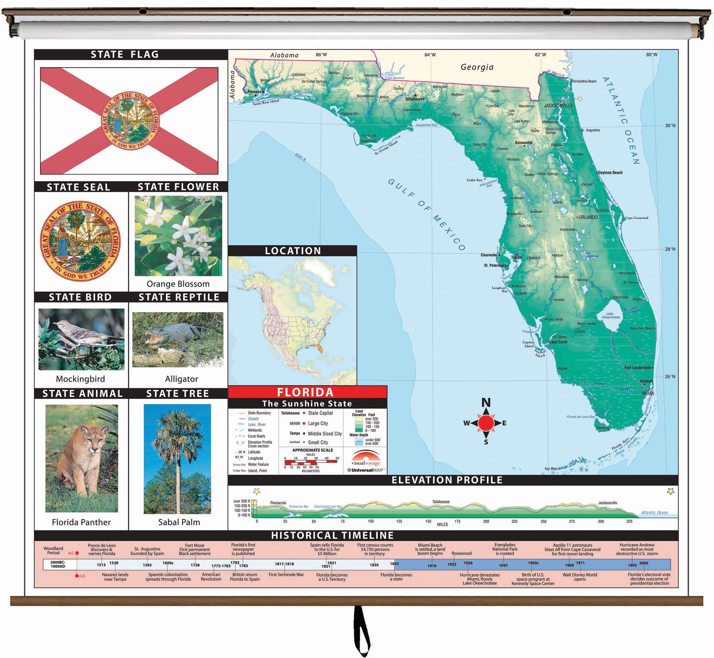 Flordia State Map.Florida State Primary Thematic Wall Map On Roller W Backboard