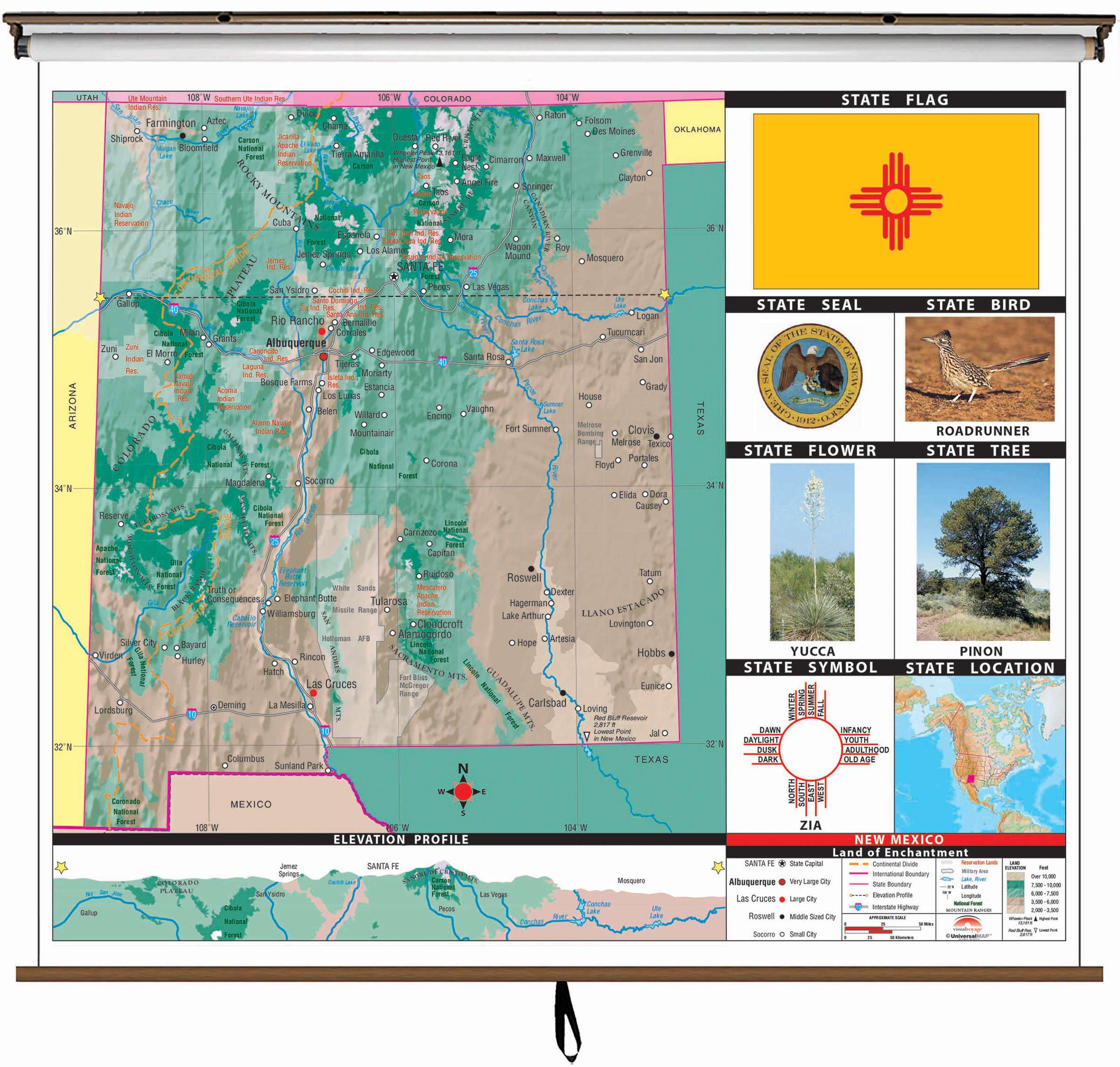 New Mexico State Primary Thematic Wall Map on Roller w/ Backboard ...