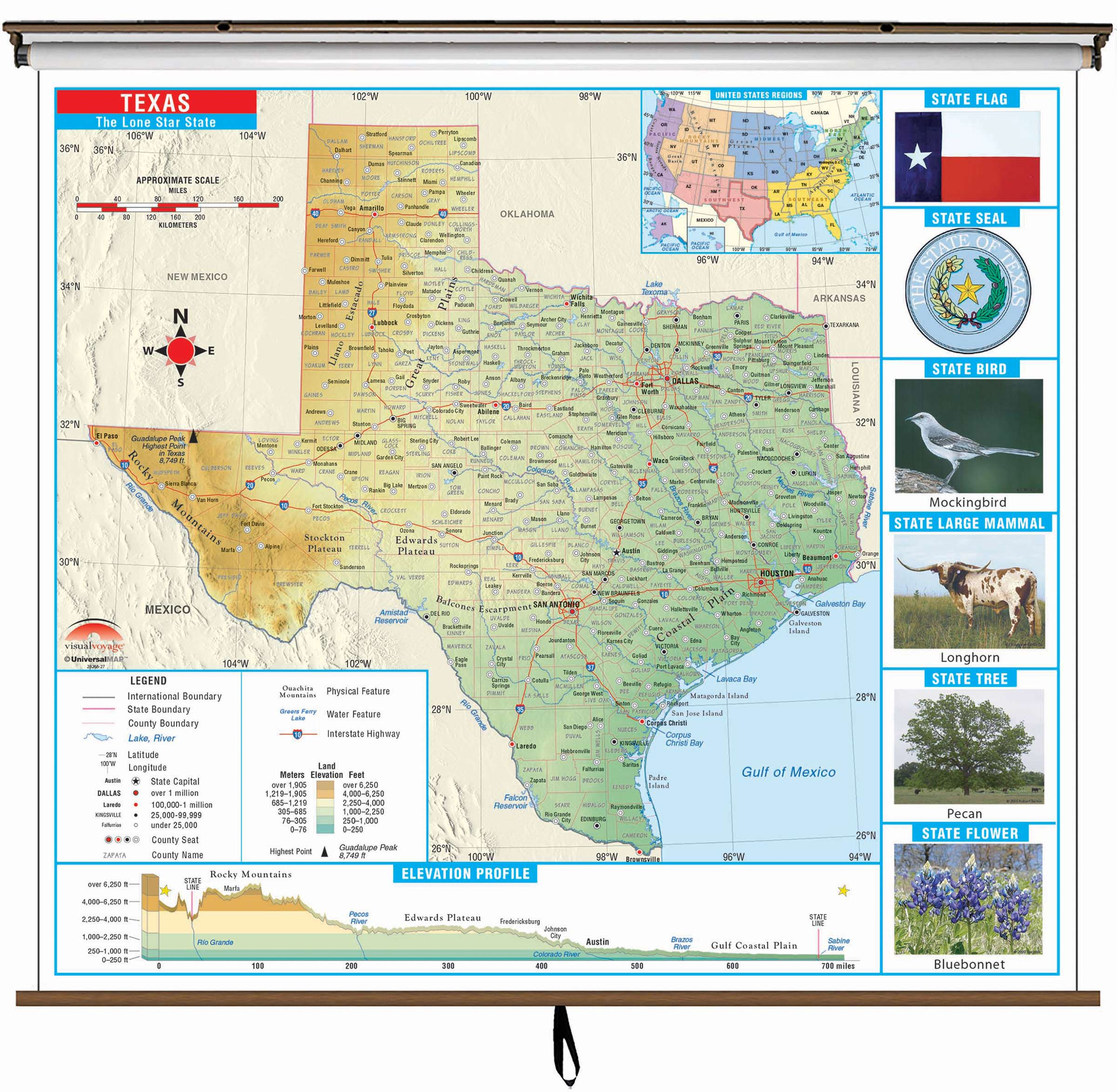 Physical Map Of Texas.Texas State Primary Thematic Wall Map On Roller W Backboard Kappa