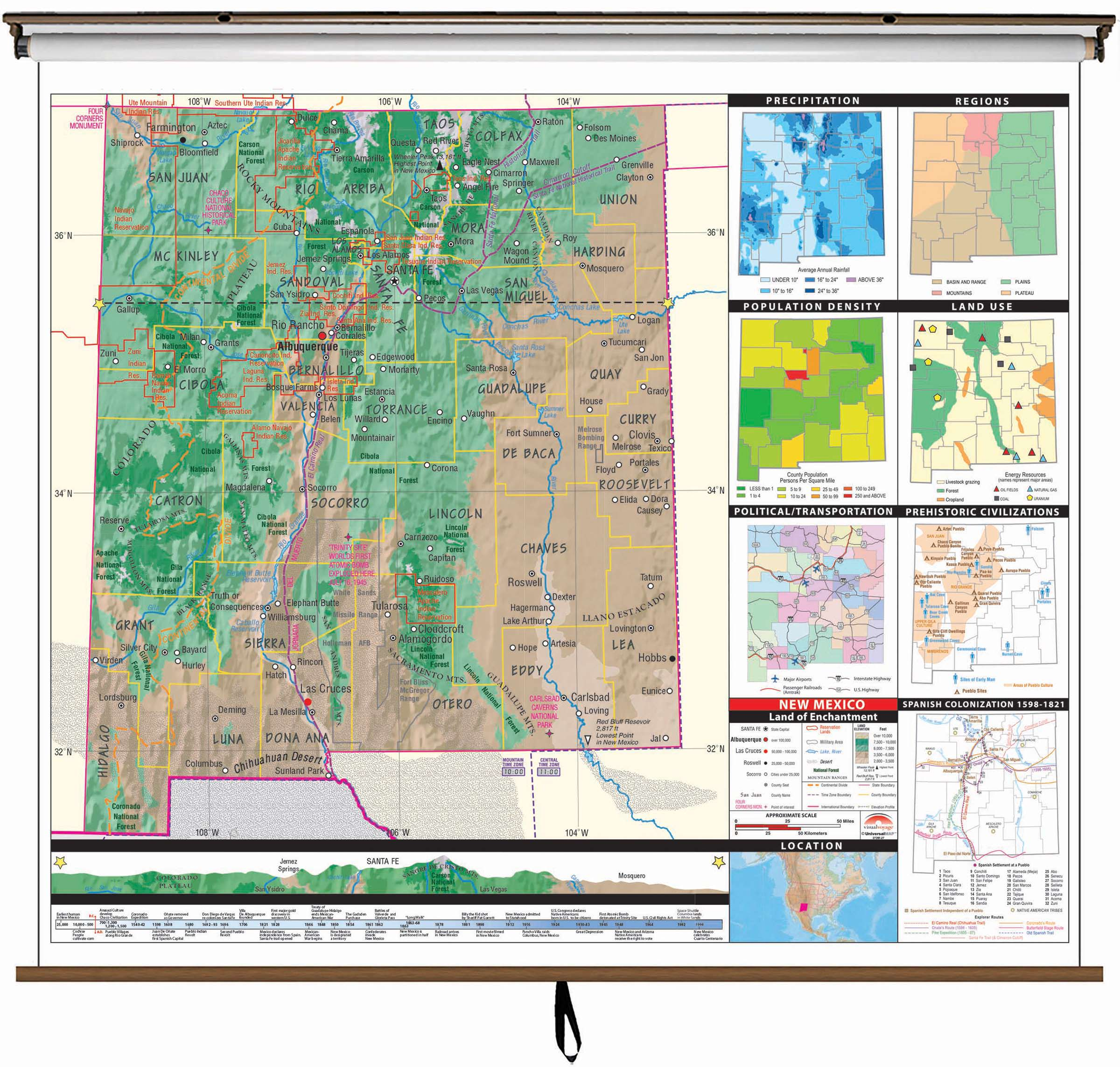 New Mexico State Intermediate Thematic Wall Map on Roller w ...