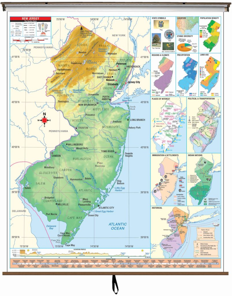New Jersey State Intermediate Thematic Wall Map On Roller W