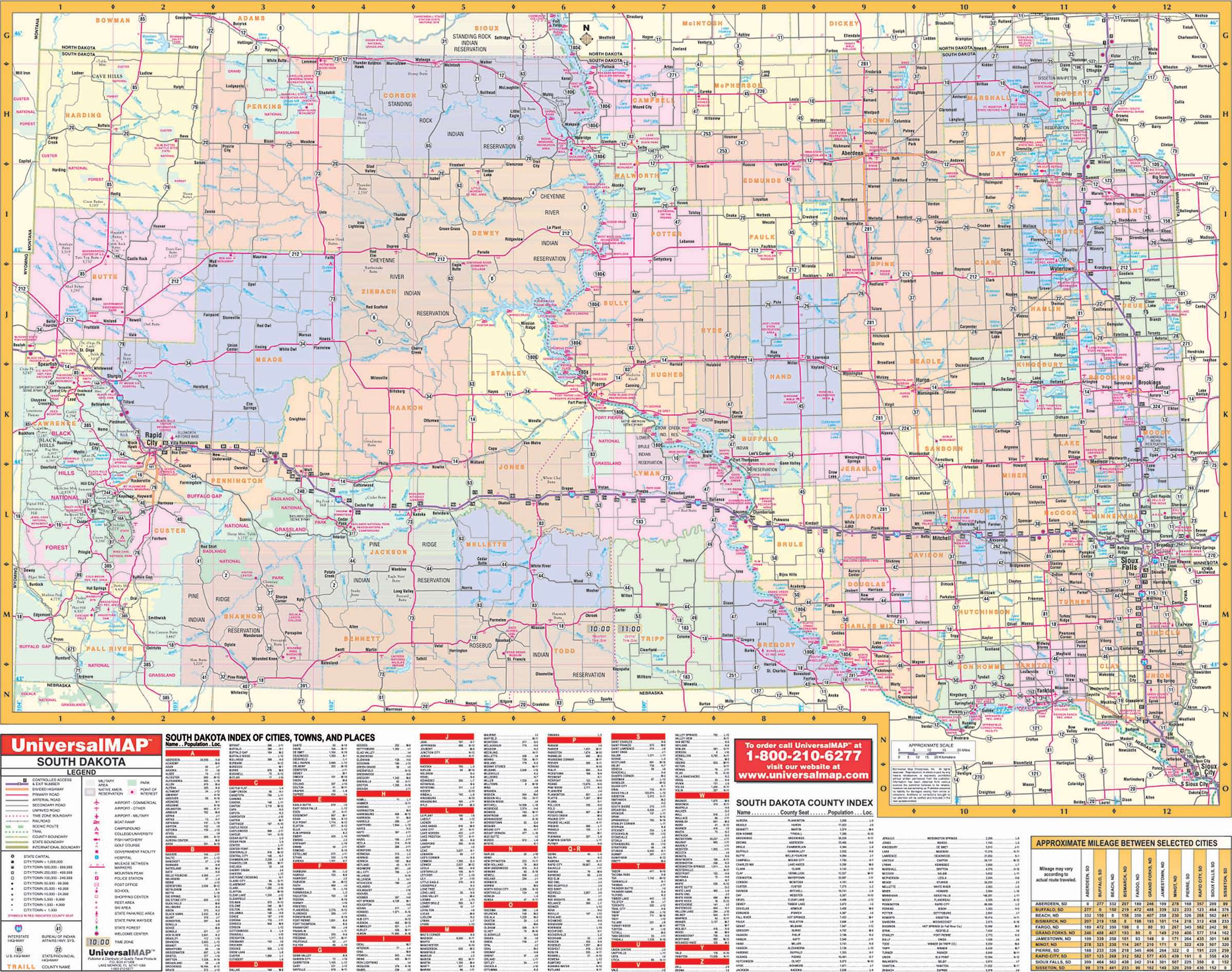 South Dakota State Wall Map Kappa Map Group