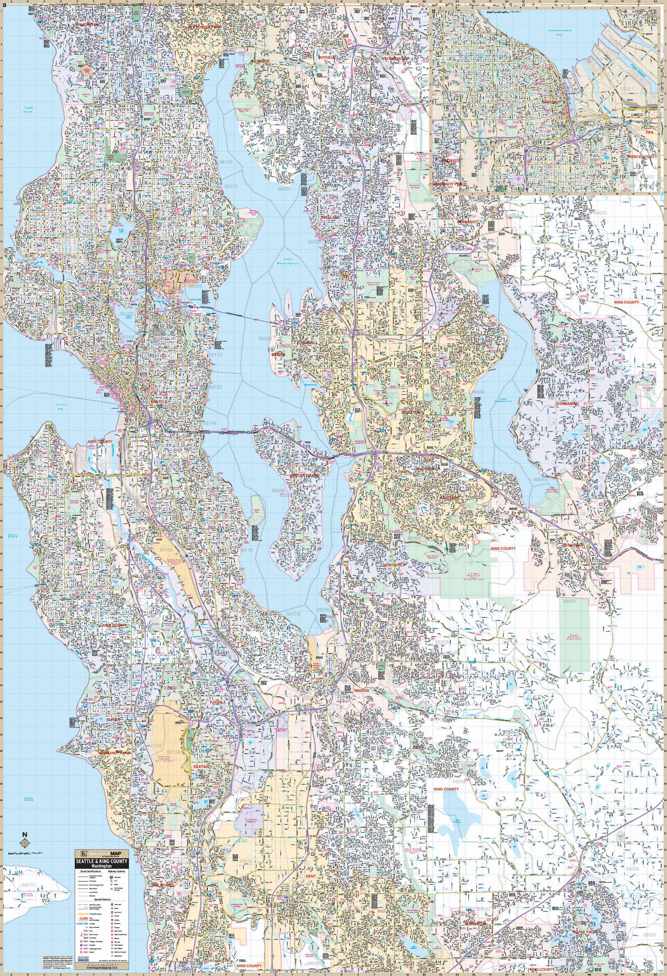 Seattle Wa Wall Map Kappa Map Group