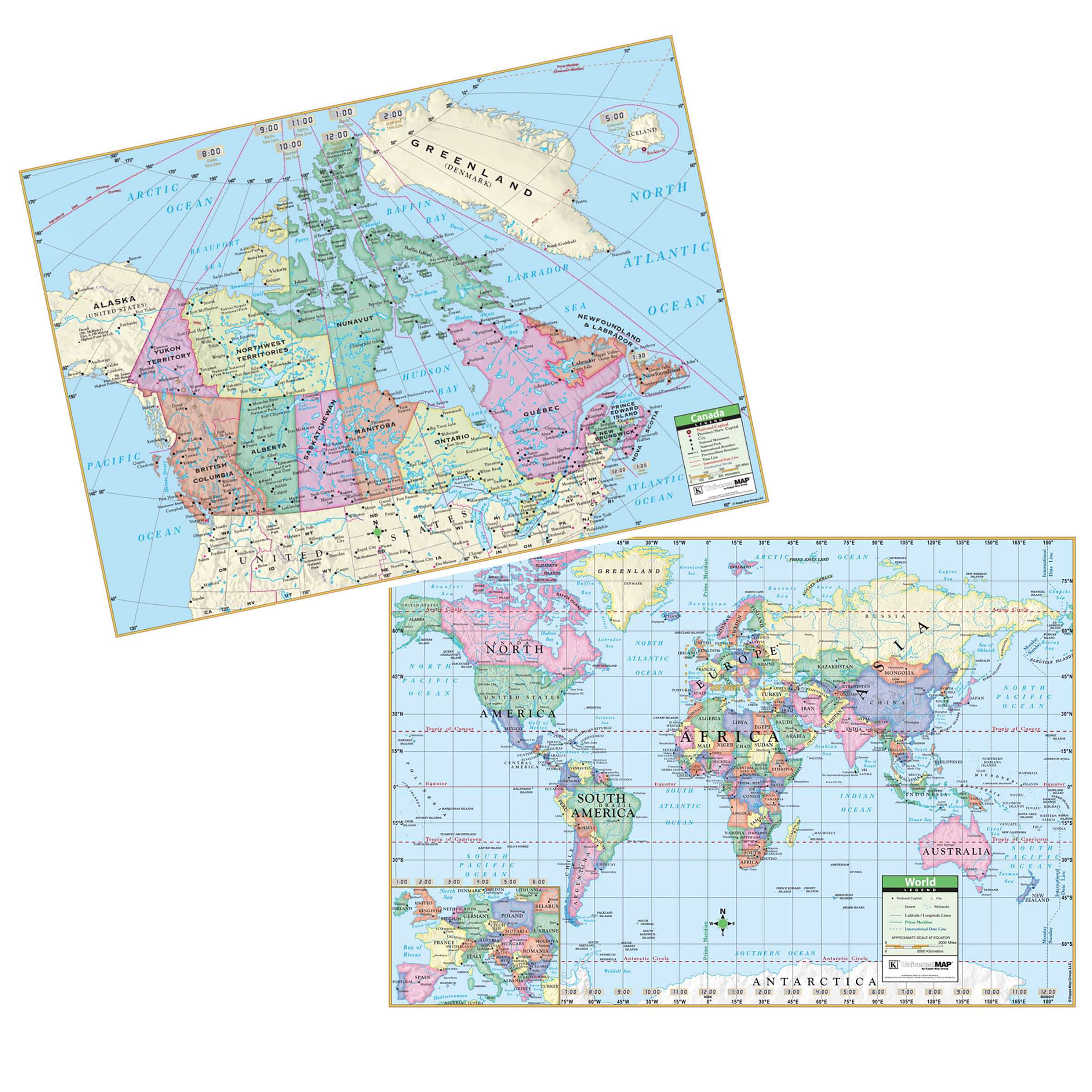 canadaworld rolled map combo laminated