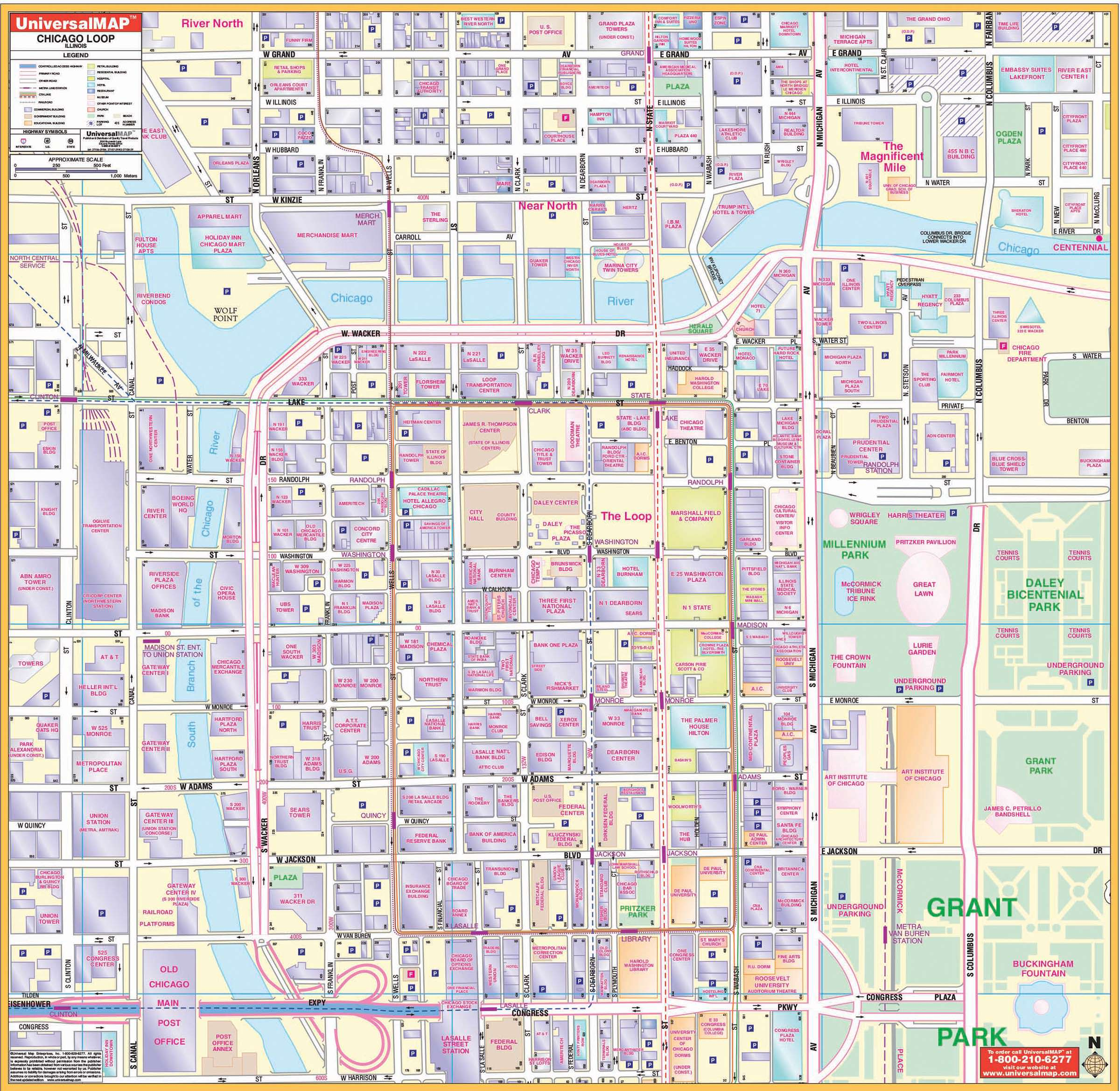 Chicago IL Loop Wall Map KAPPA MAP GROUP