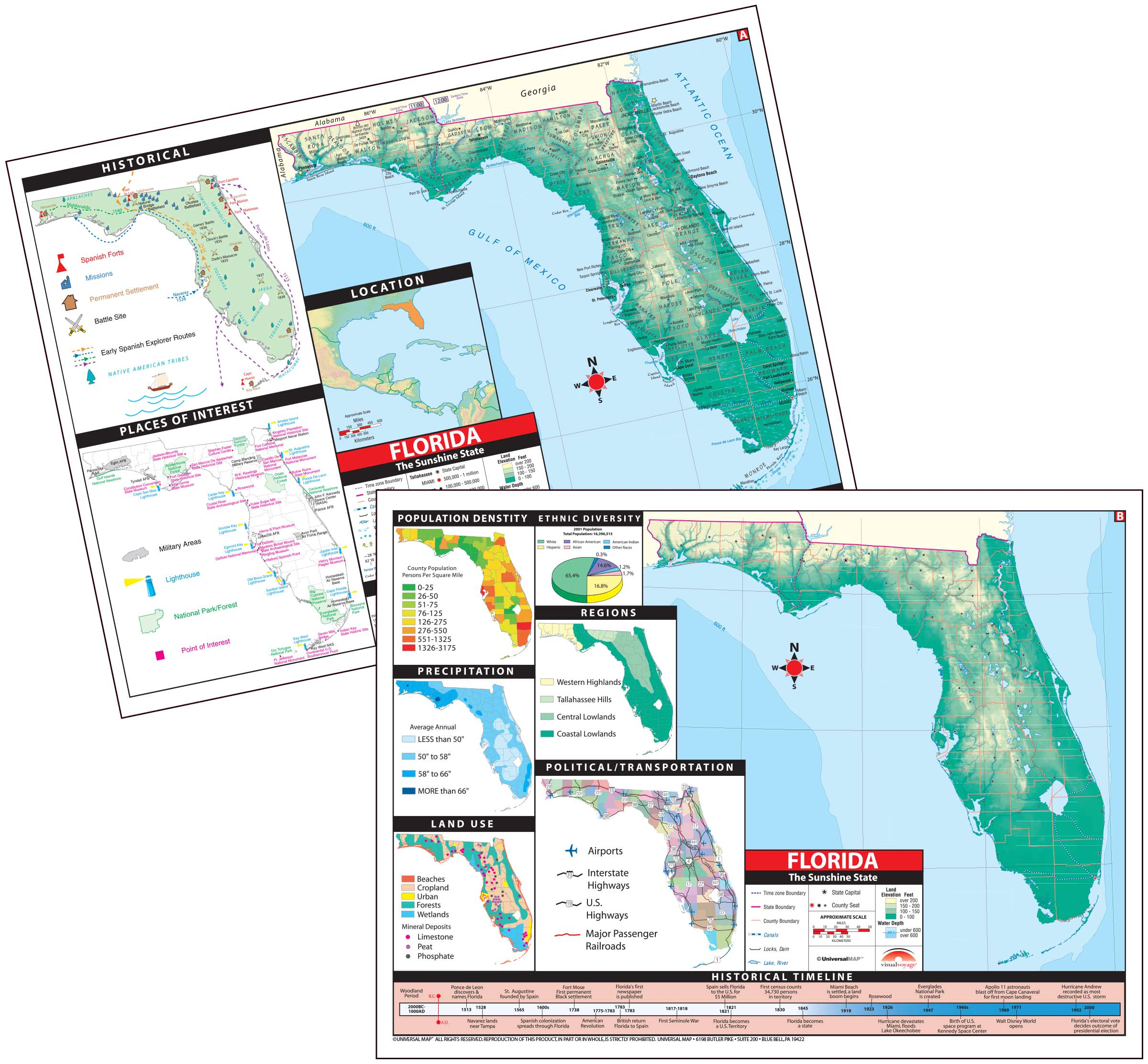 Map Of Florida State.Florida State Thematic Deskpad Map 30 Pack Kappa Map Group