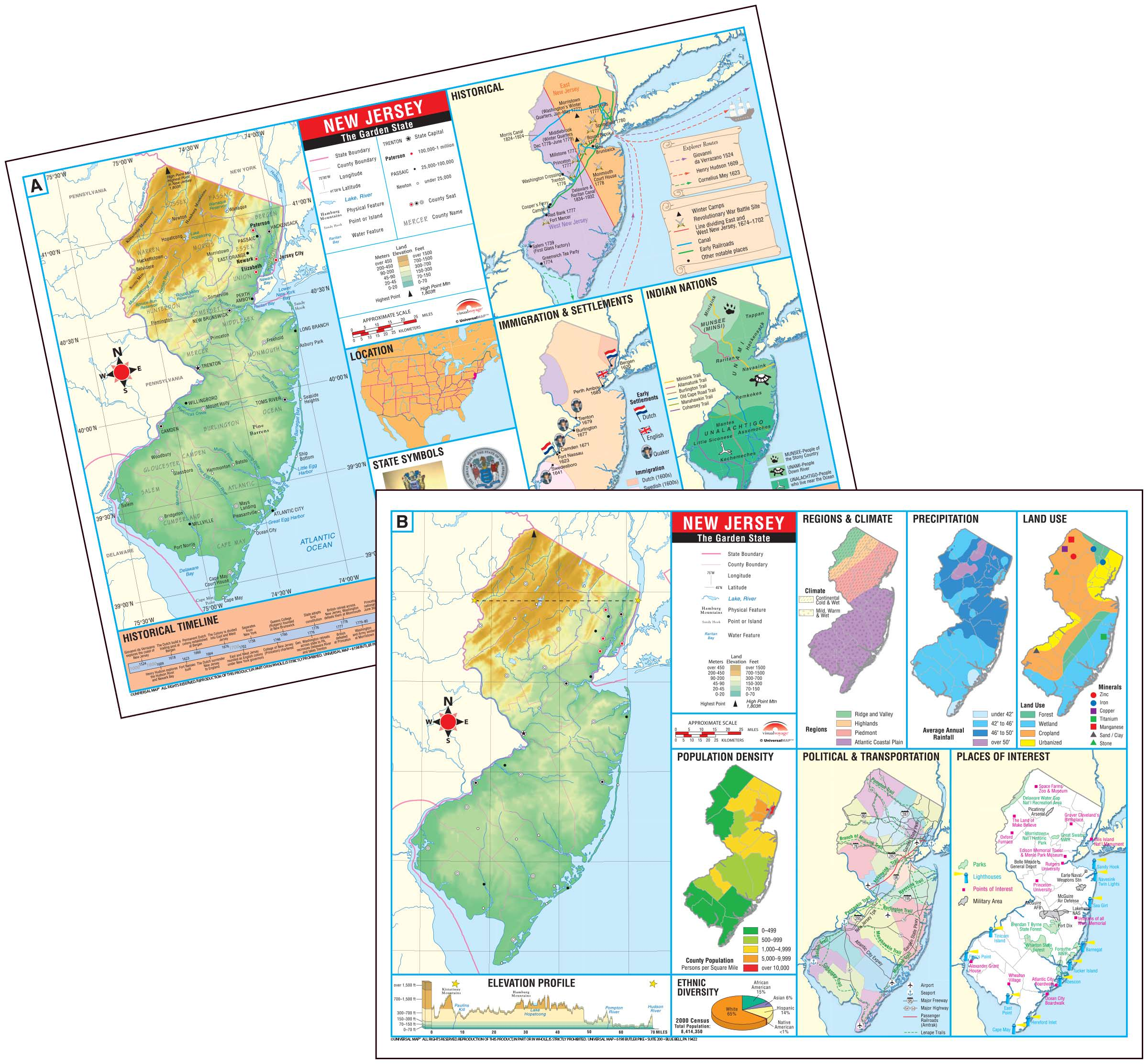 New Jersey State Thematic Deskpad Map 30 Pack Kappa Map Group