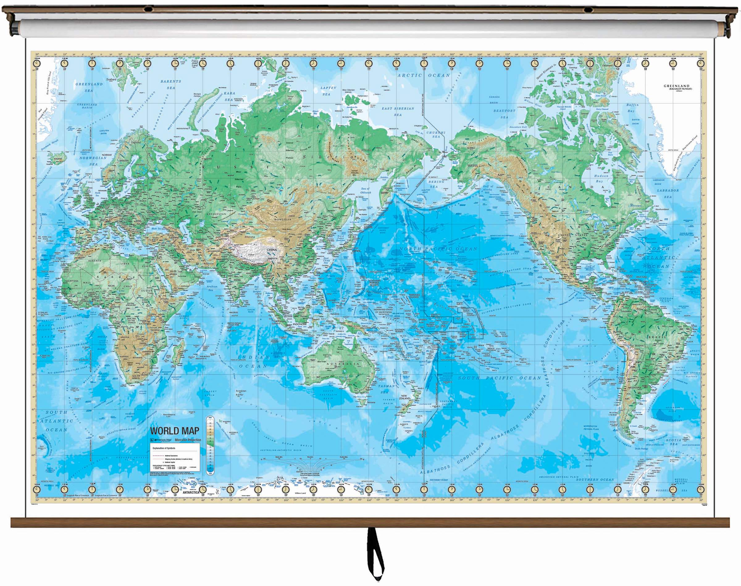 World advanced physical classroom wall map on roller w backboard world advanced physical classroom wall map on roller w backboard gumiabroncs Images