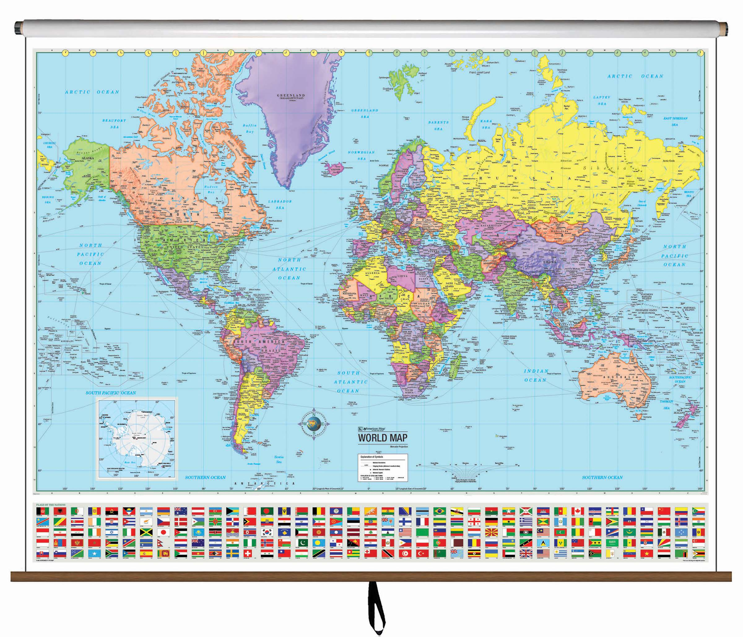 World Advanced Political Classroom Wall Map on Roller – KAPPA MAP