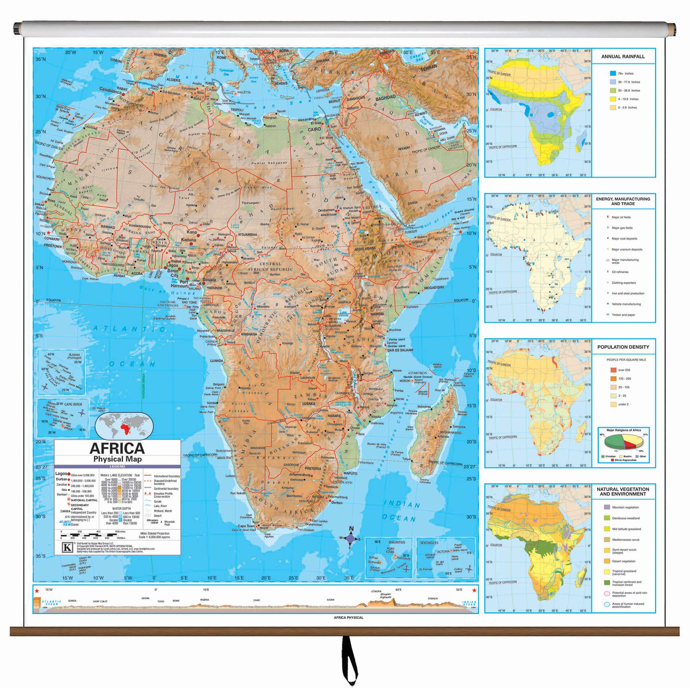 Africa Advanced Physical Clroom Wall Map – KAPPA MAP GROUP on bordeaux on world map, manama on world map, riyadh on world map, sanaa on world map, bahrain island on world map, thessaloniki on world map, cincinnati on world map, fuzhou on world map, jeddah on world map, gdansk on world map, dushanbe on world map, miami on world map, kano on world map, qatar on world map, laccadive sea on world map, pristina on world map, bhutan on world map, makkah on world map, belize city on world map, yerevan on world map,