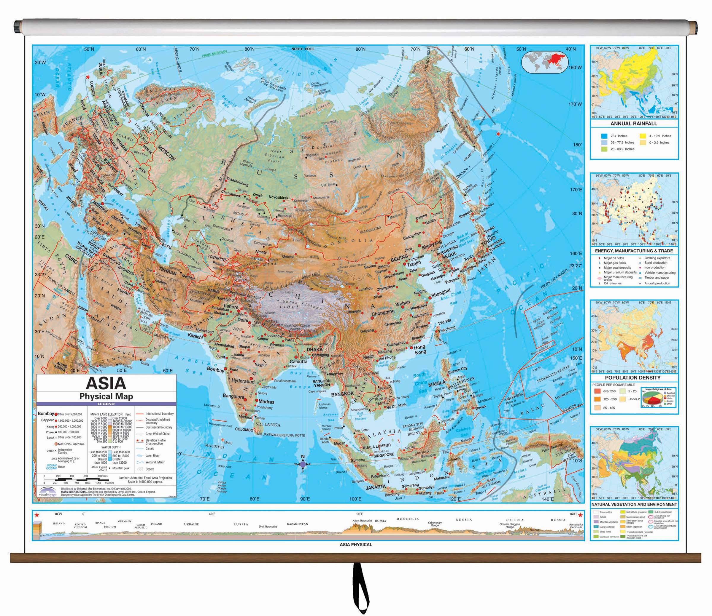 Asia Advanced Physical Clroom Wall Map – KAPPA MAP GROUP on